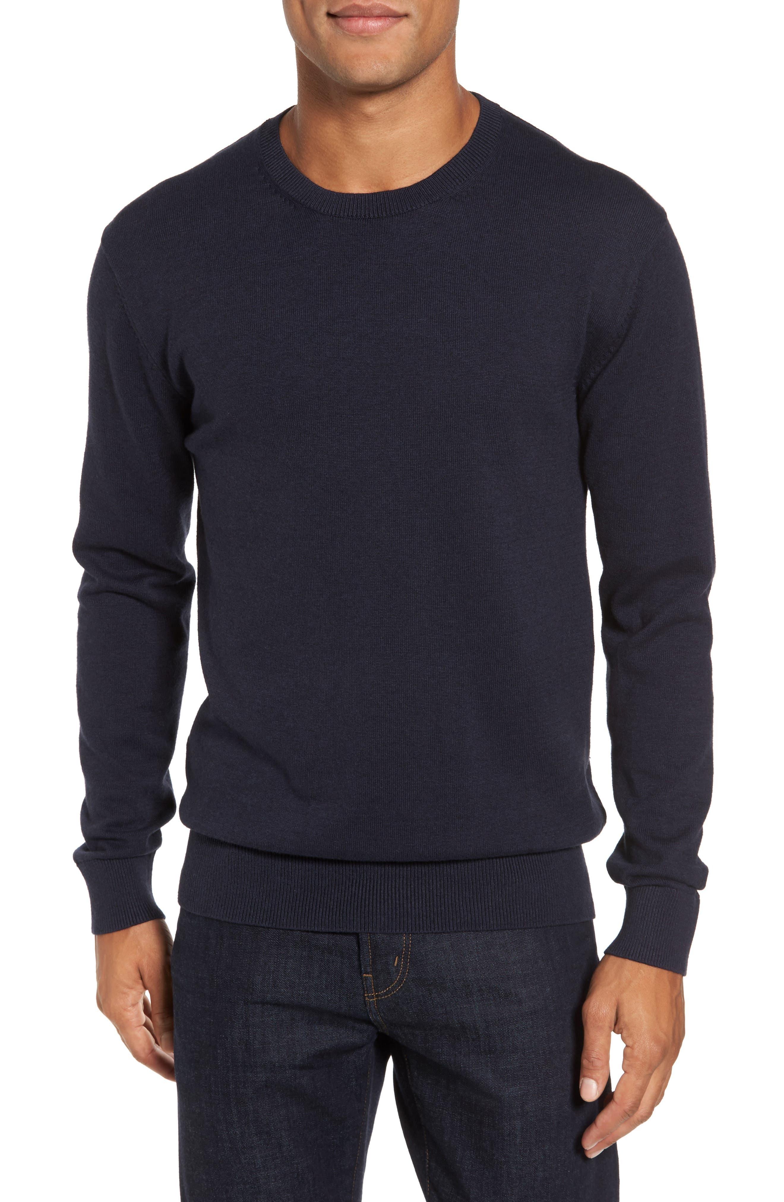Portrait Crewneck Sweater,                             Main thumbnail 1, color,                             Marine Blue