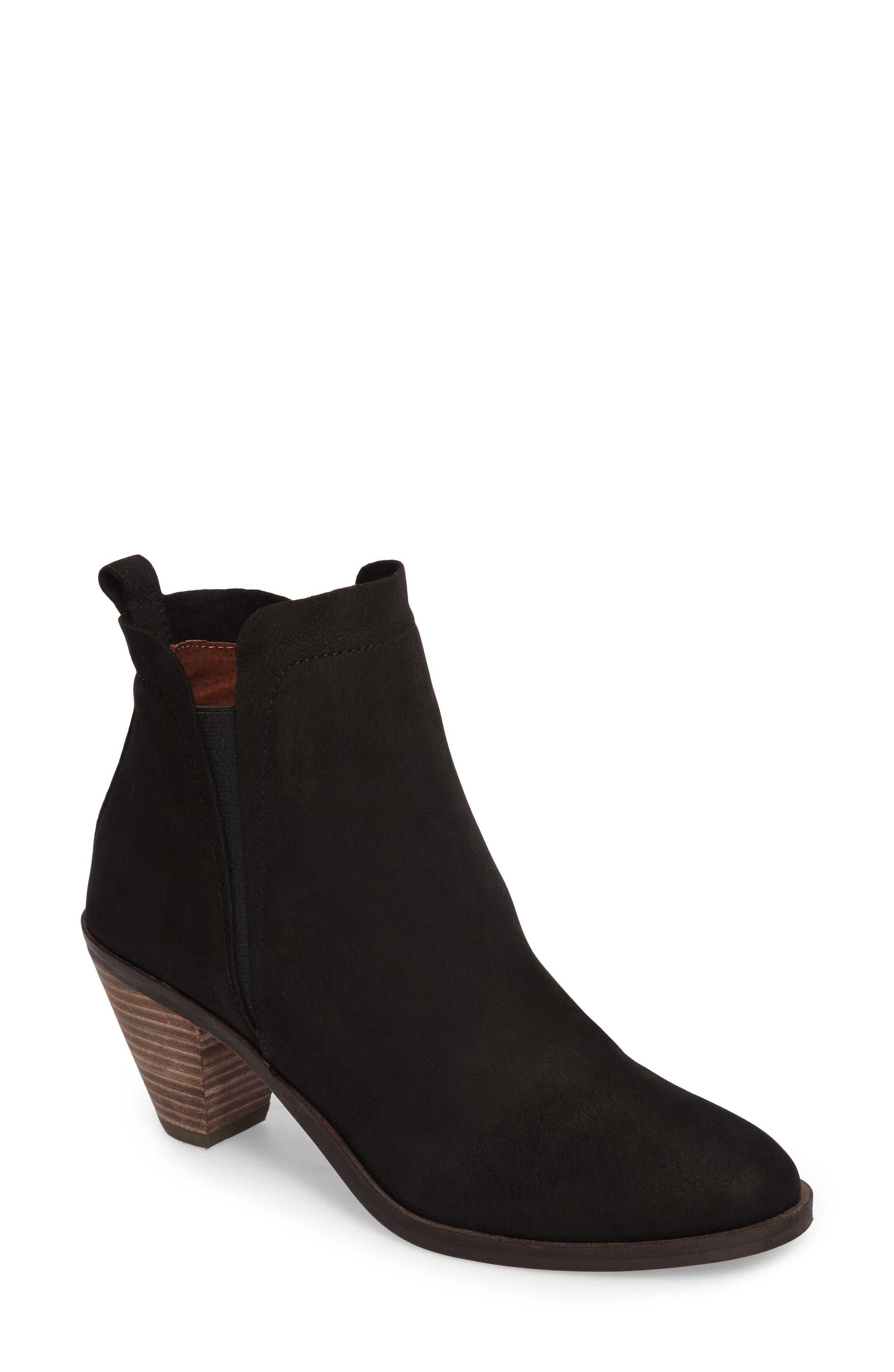 Jana Bootie,                             Main thumbnail 1, color,                             Black Leather