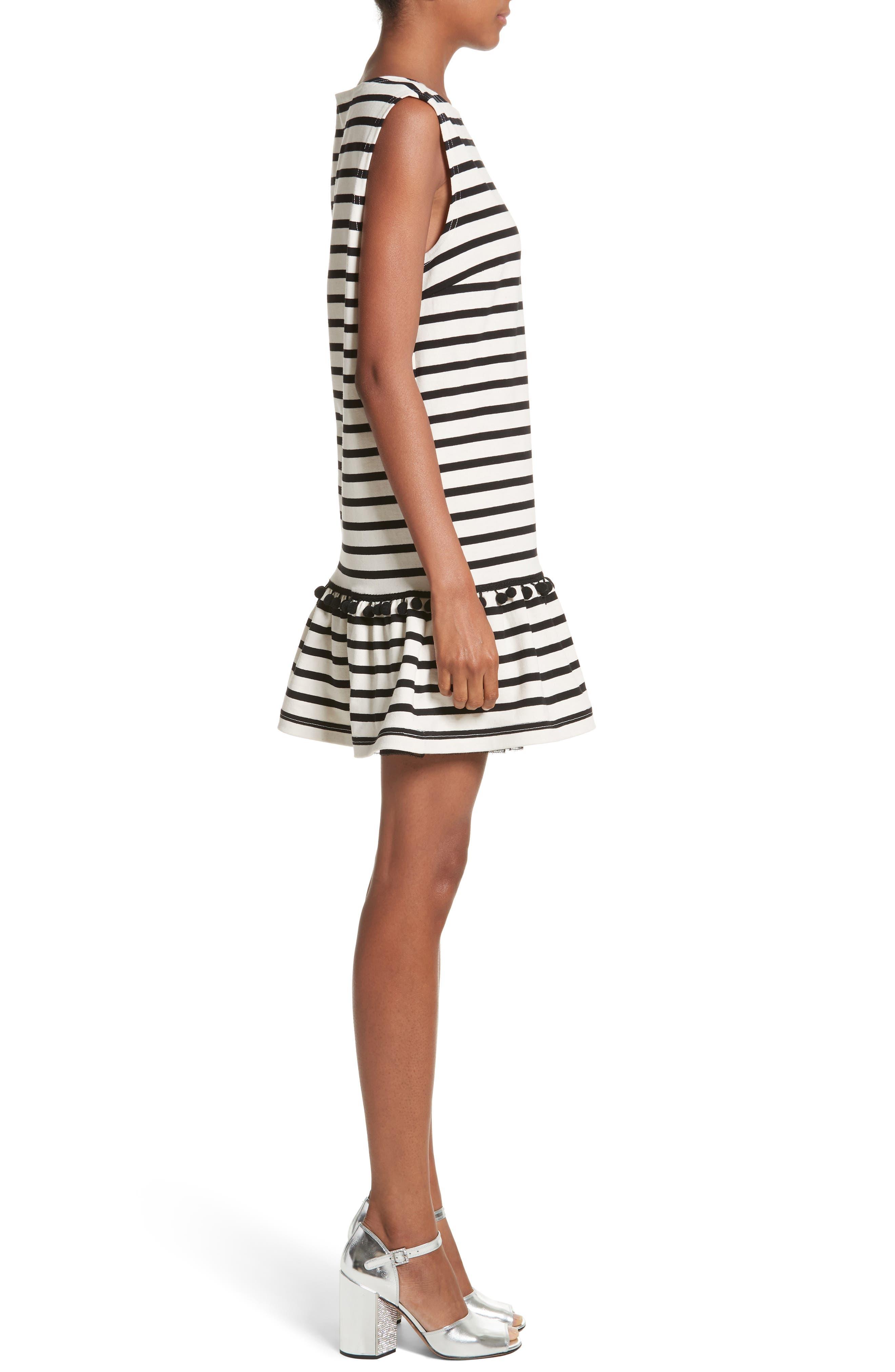 Pompom Stripe Drop Waist Dress,                             Alternate thumbnail 3, color,                             Ecru/ Black