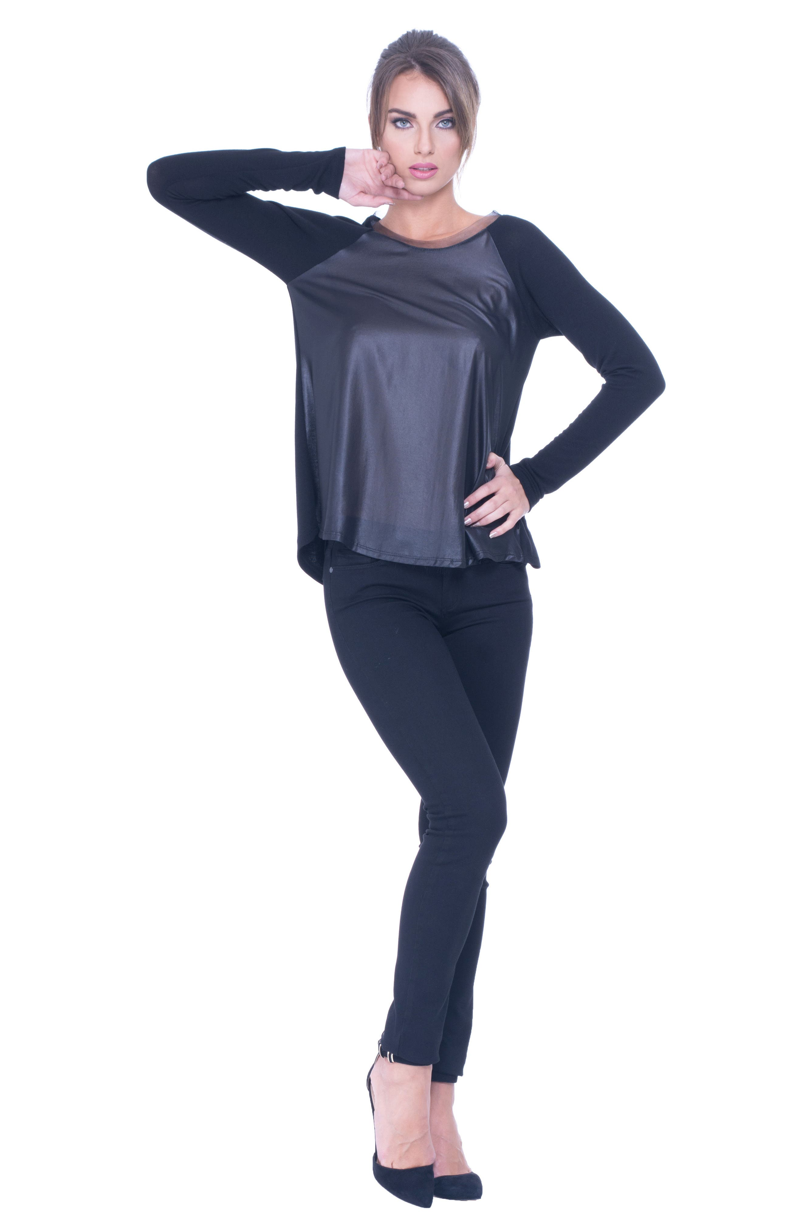 Alternate Image 2  - Olian Elena Faux Leather & Chiffon Maternity Top