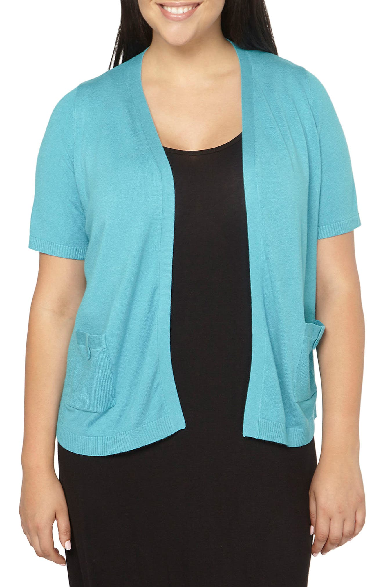 Tab Pocket Cardigan,                         Main,                         color, Turquoise