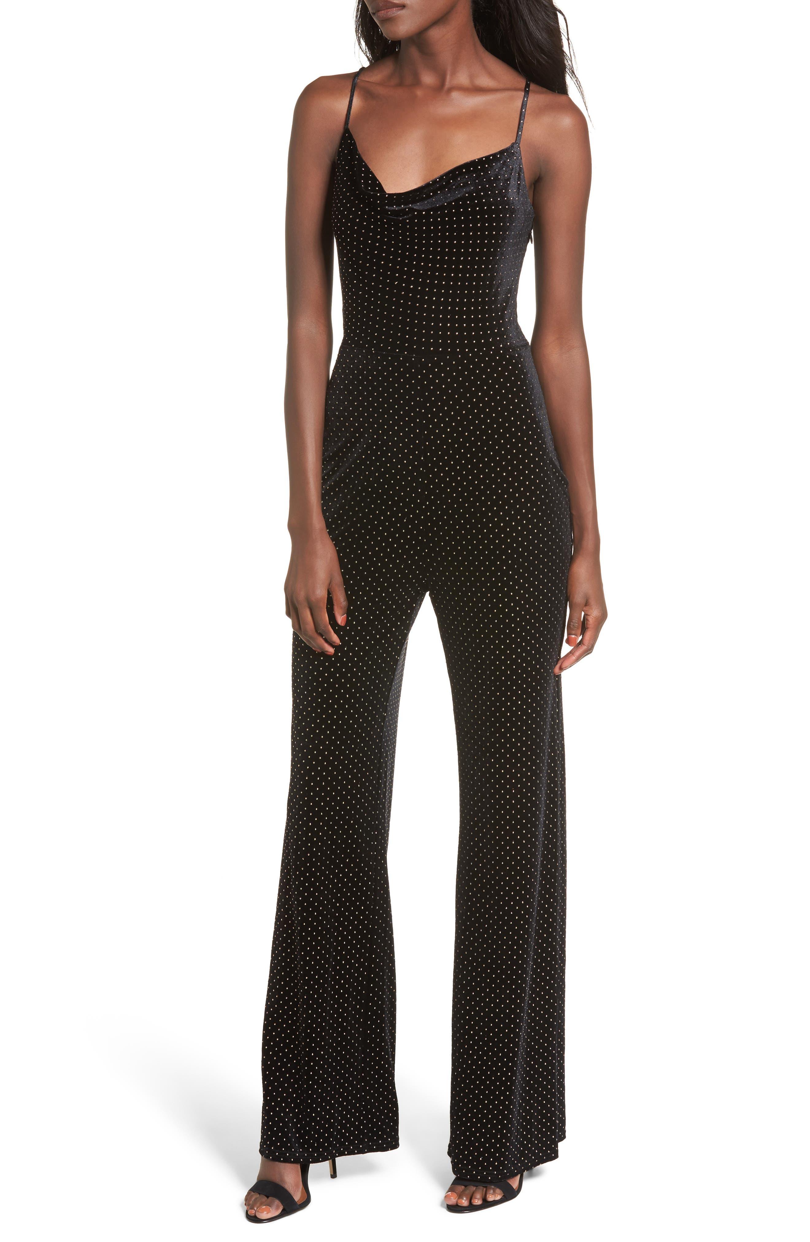 Carroll Jumpsuit,                         Main,                         color, Black Dot