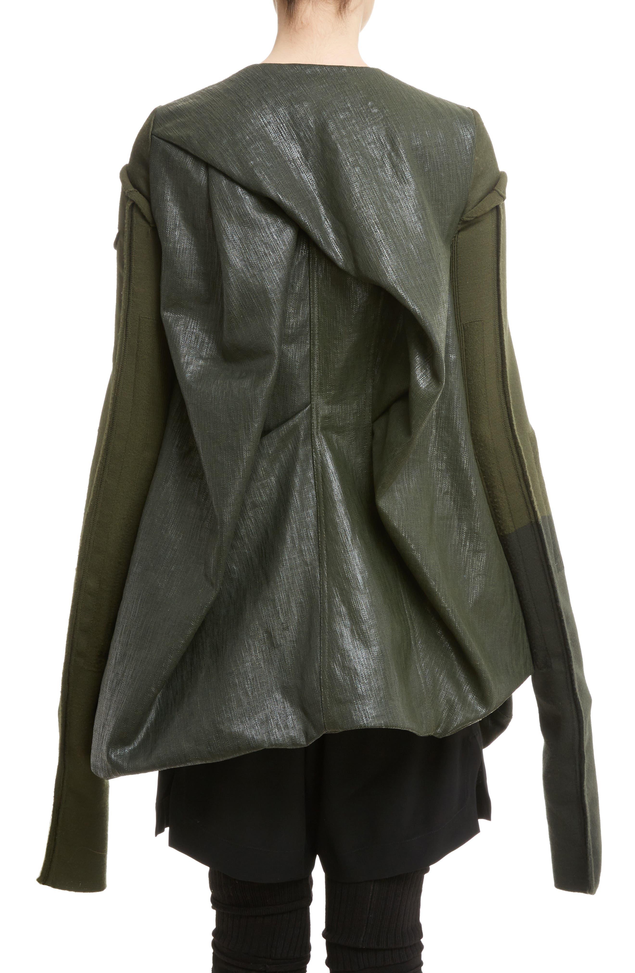 Alternate Image 2  - Rick Owens Knit Sleeve Waxed Cotton Jacket