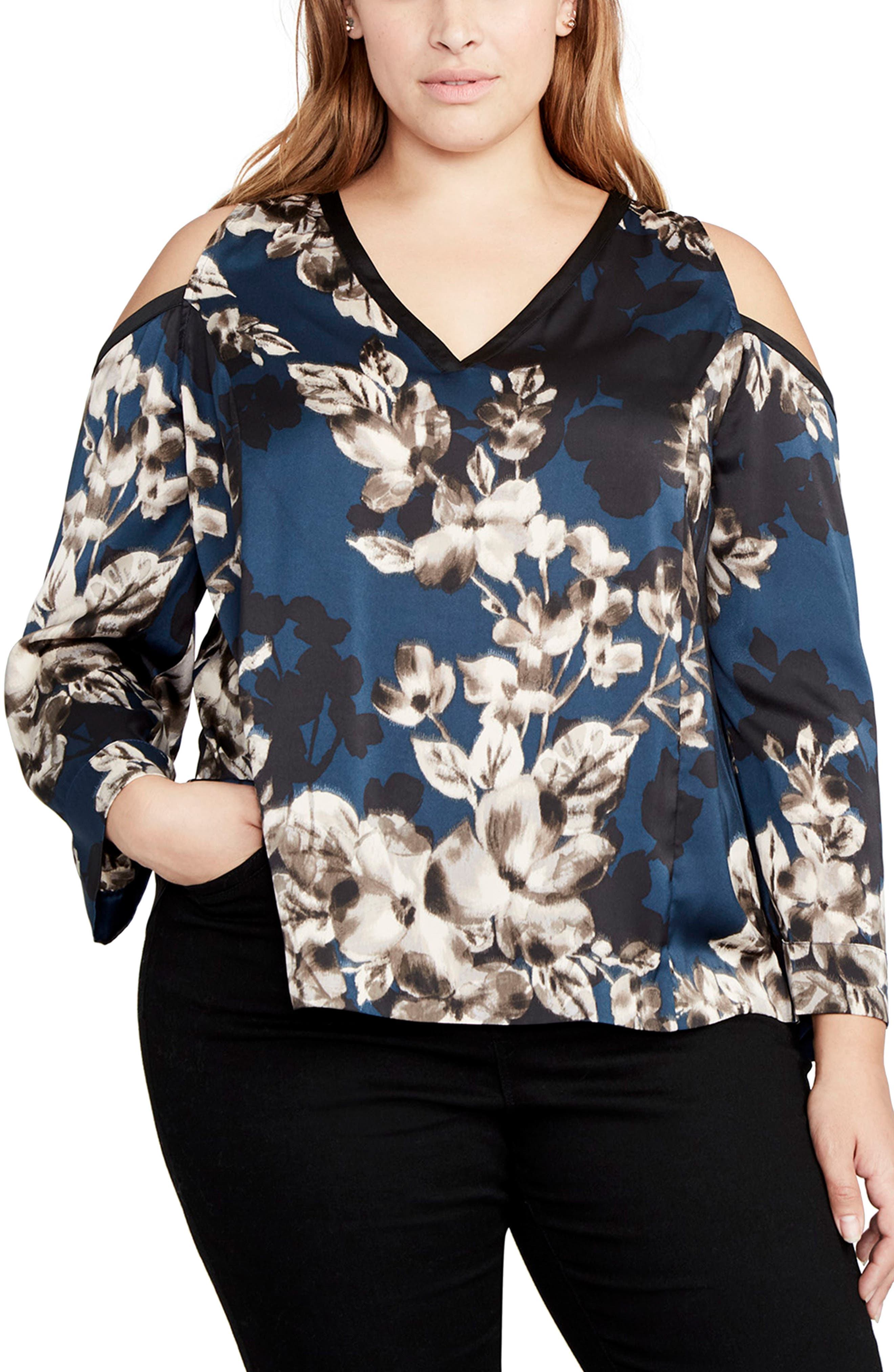 Floral Cold Shoulder Top,                             Main thumbnail 1, color,                             Blue Steel Combo
