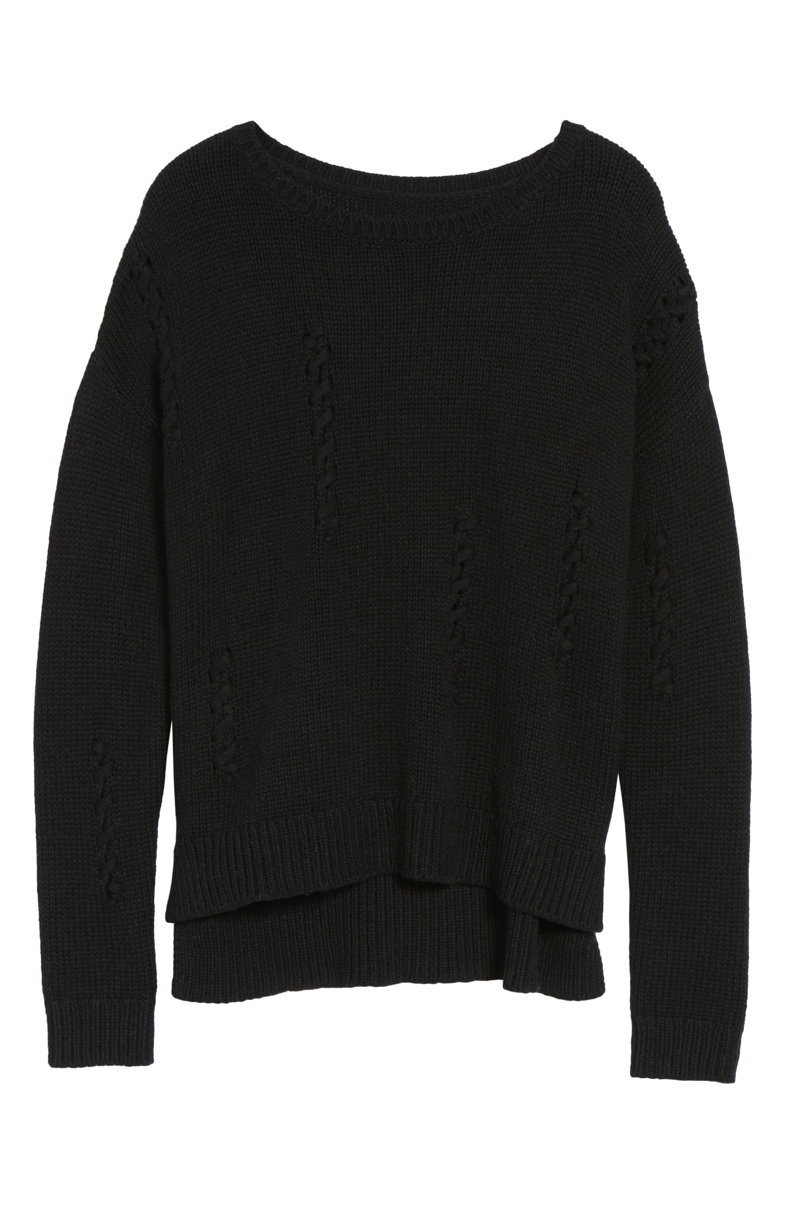 Whipstitch Detail Sweater,                             Alternate thumbnail 6, color,                             Black