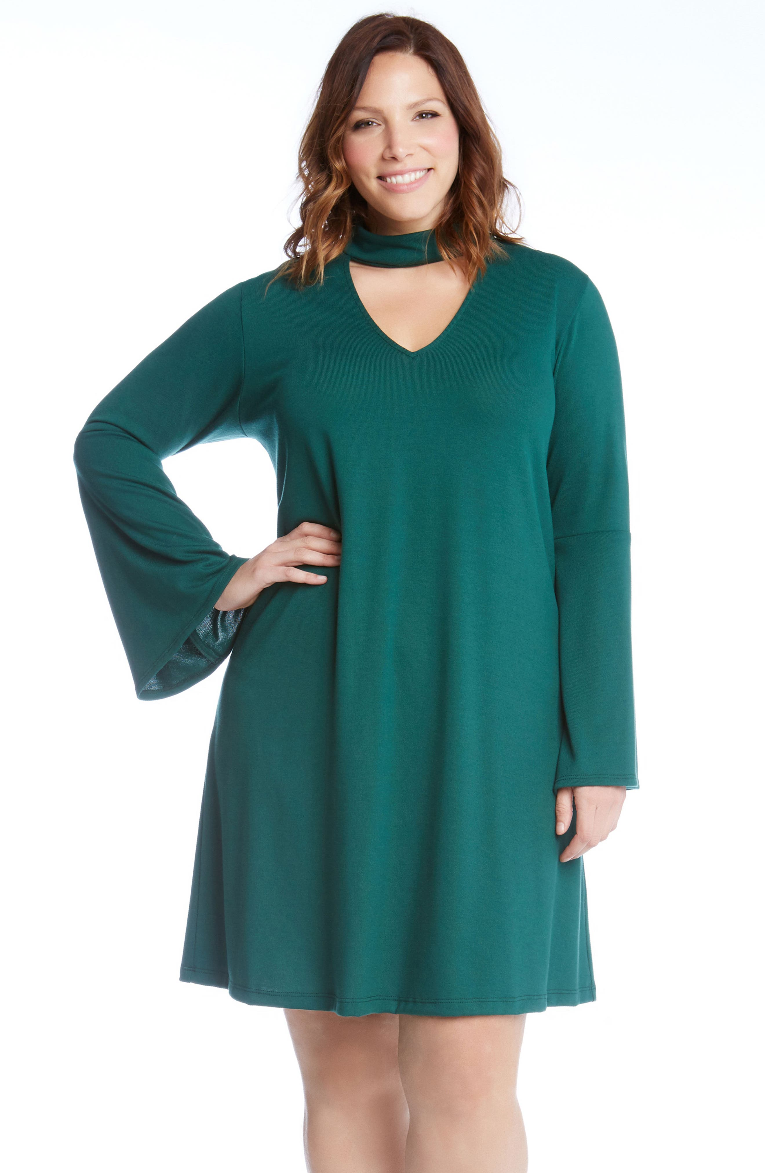 Taylor Choker Neck A-Line Dress,                             Alternate thumbnail 4, color,                             Green