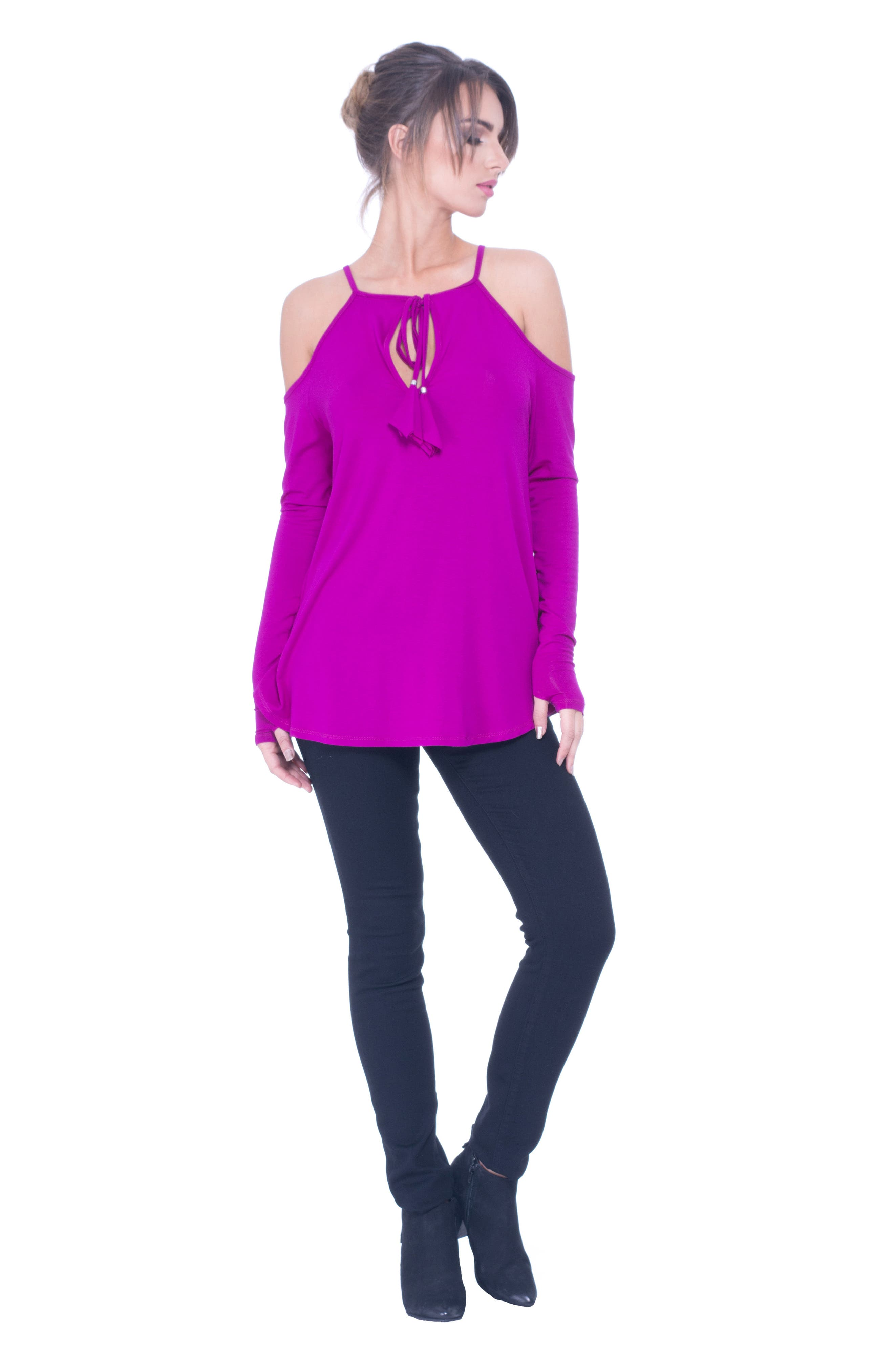 Lucy Strappy Cold Shoulder Maternity Top,                             Alternate thumbnail 2, color,                             Boysenberry