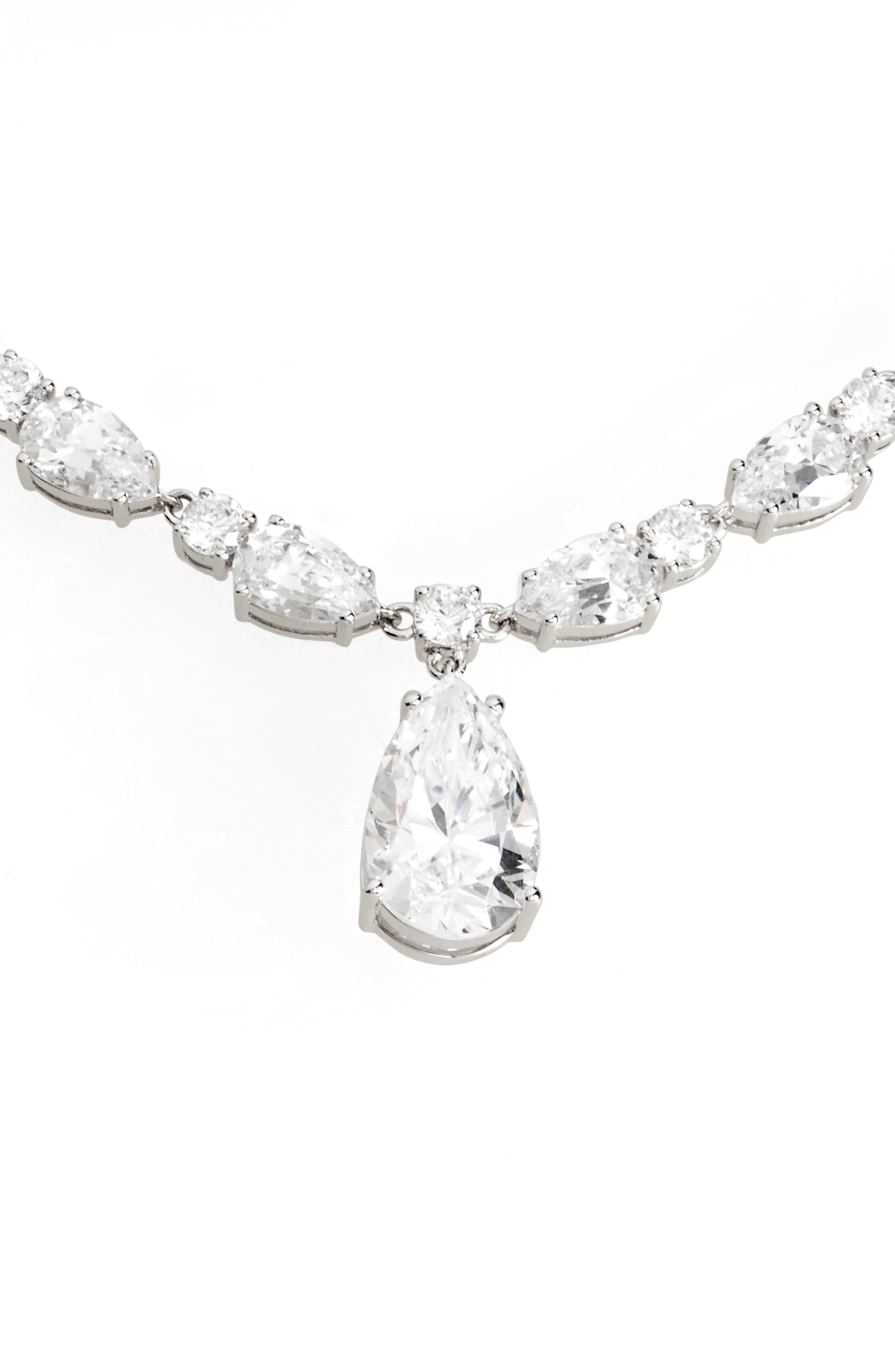All Around Cubic Zirconia Pendant Necklace,                         Main,                         color, Silver