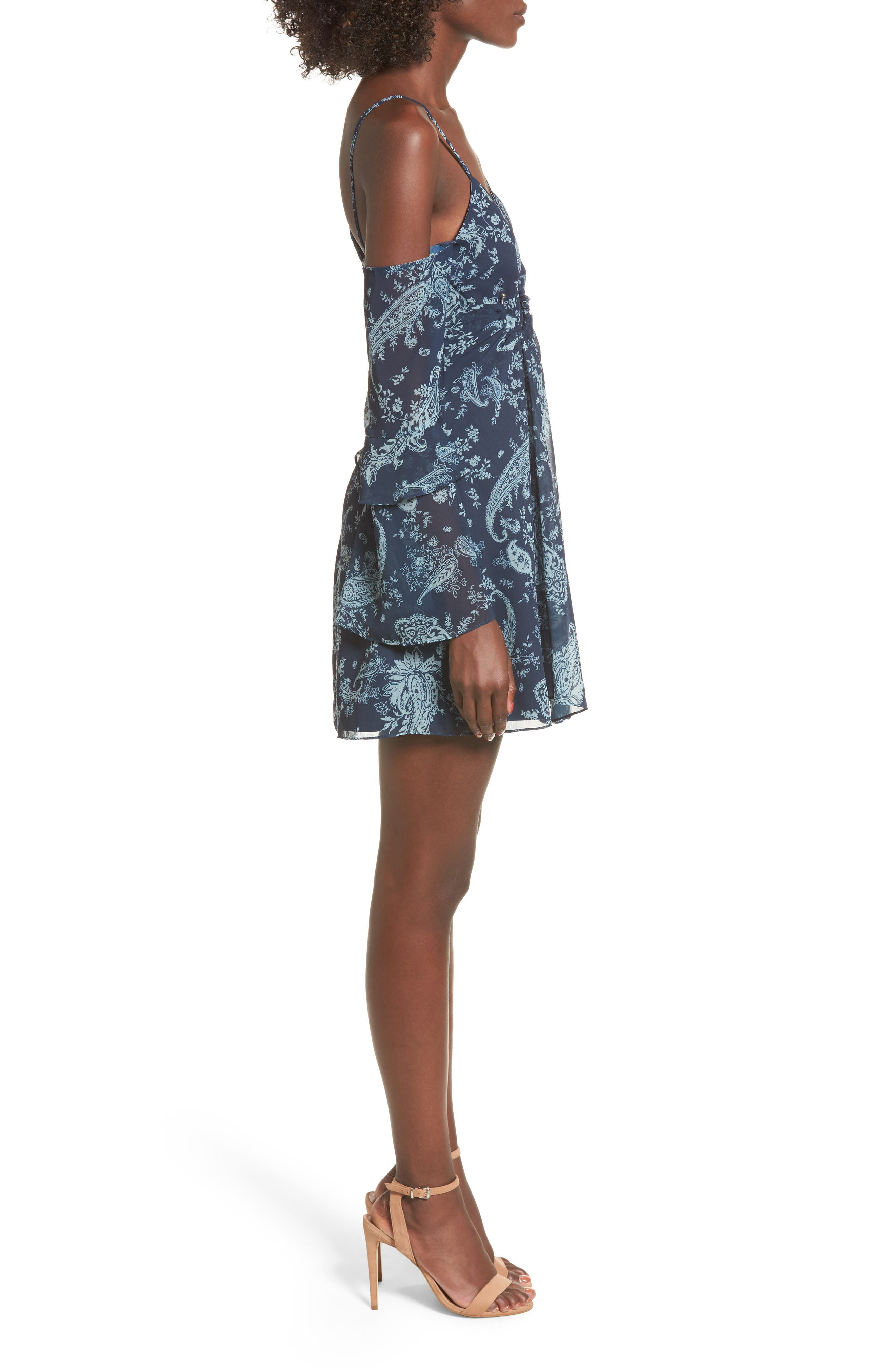 Go With It Minidress,                             Alternate thumbnail 3, color,                             Navy Paisley
