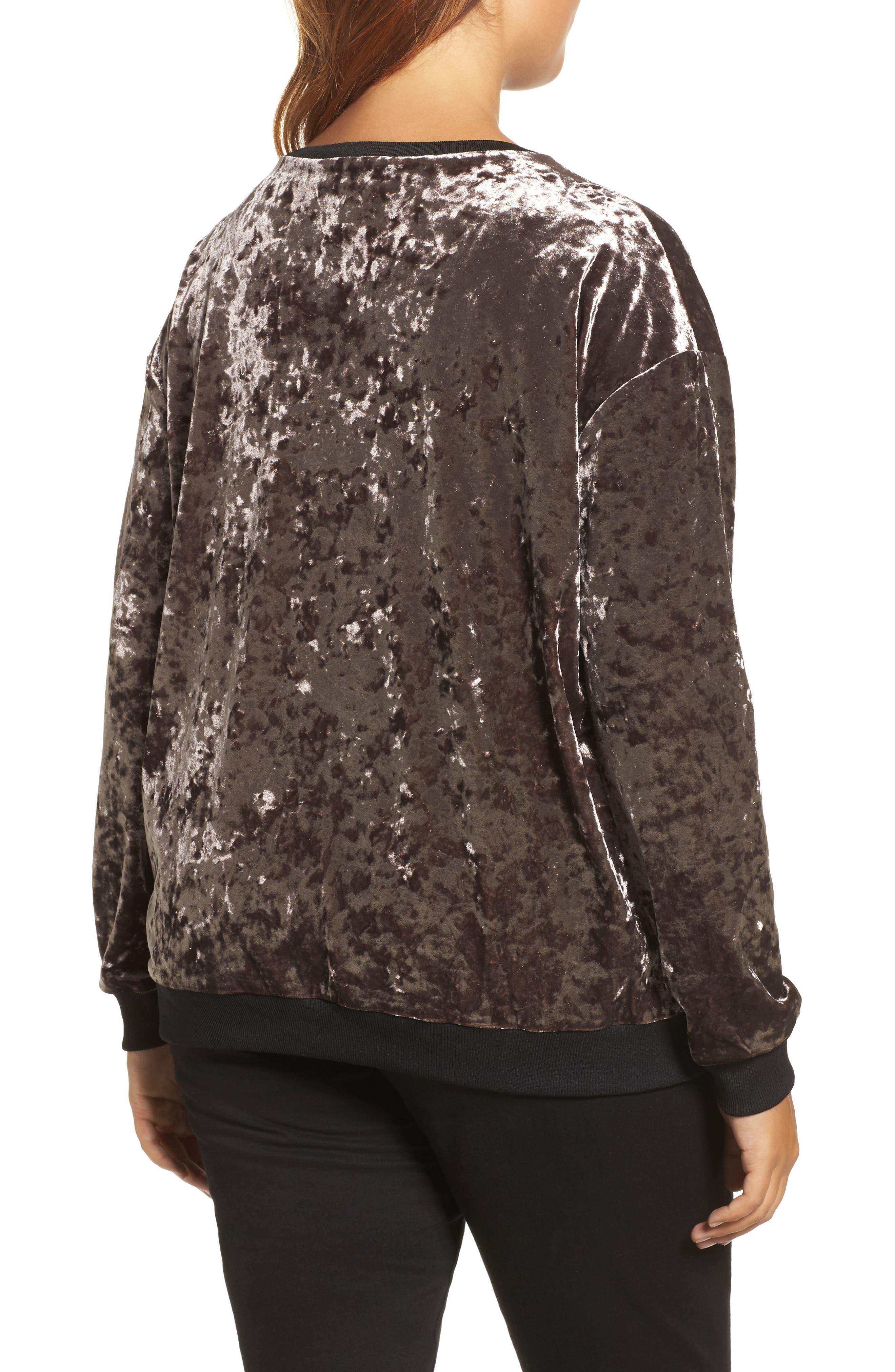 Crushed Velvet Sweater,                             Alternate thumbnail 2, color,                             Mauve