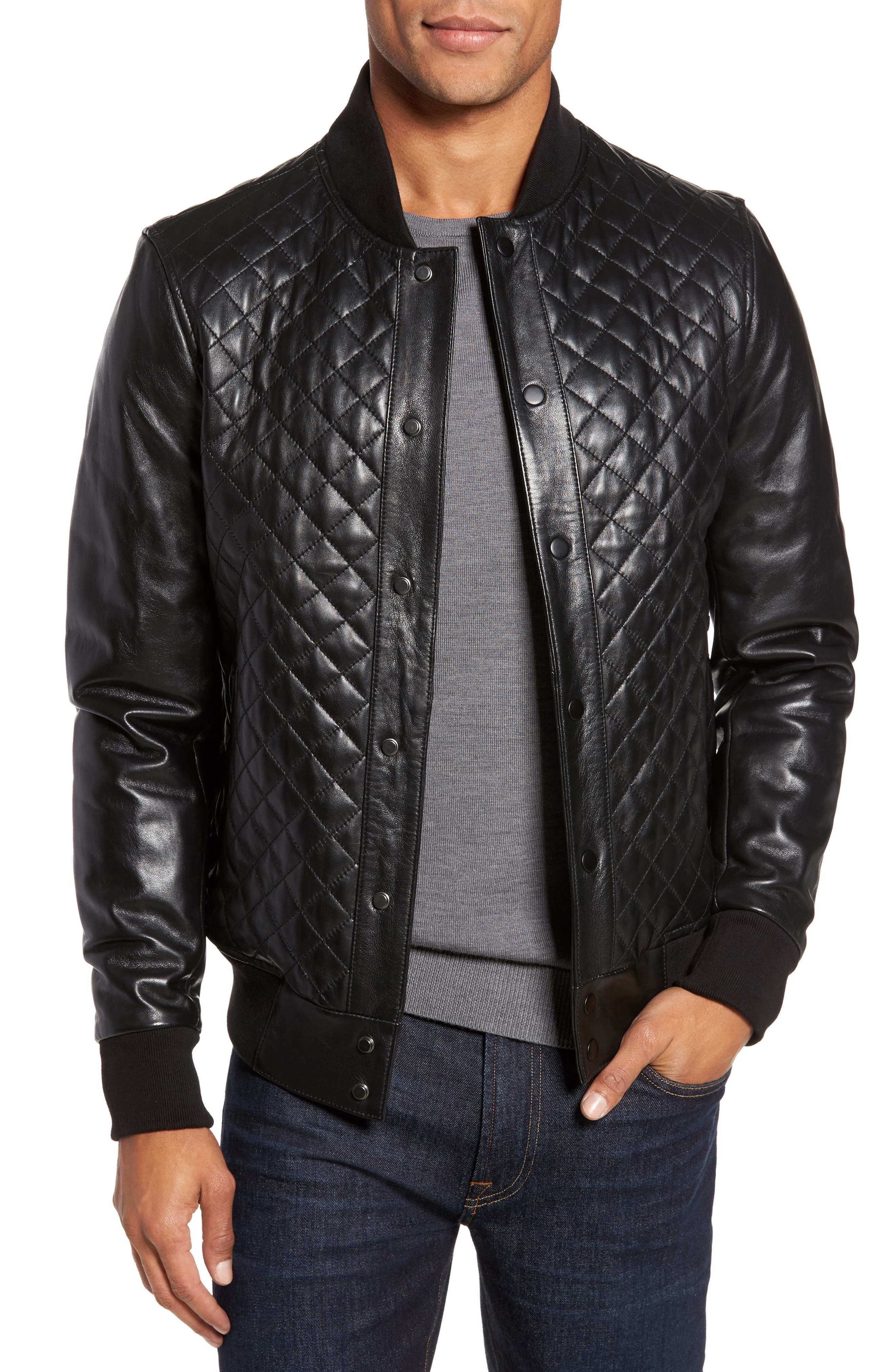 Quilted Leather Baseball Jacket,                         Main,                         color, Black