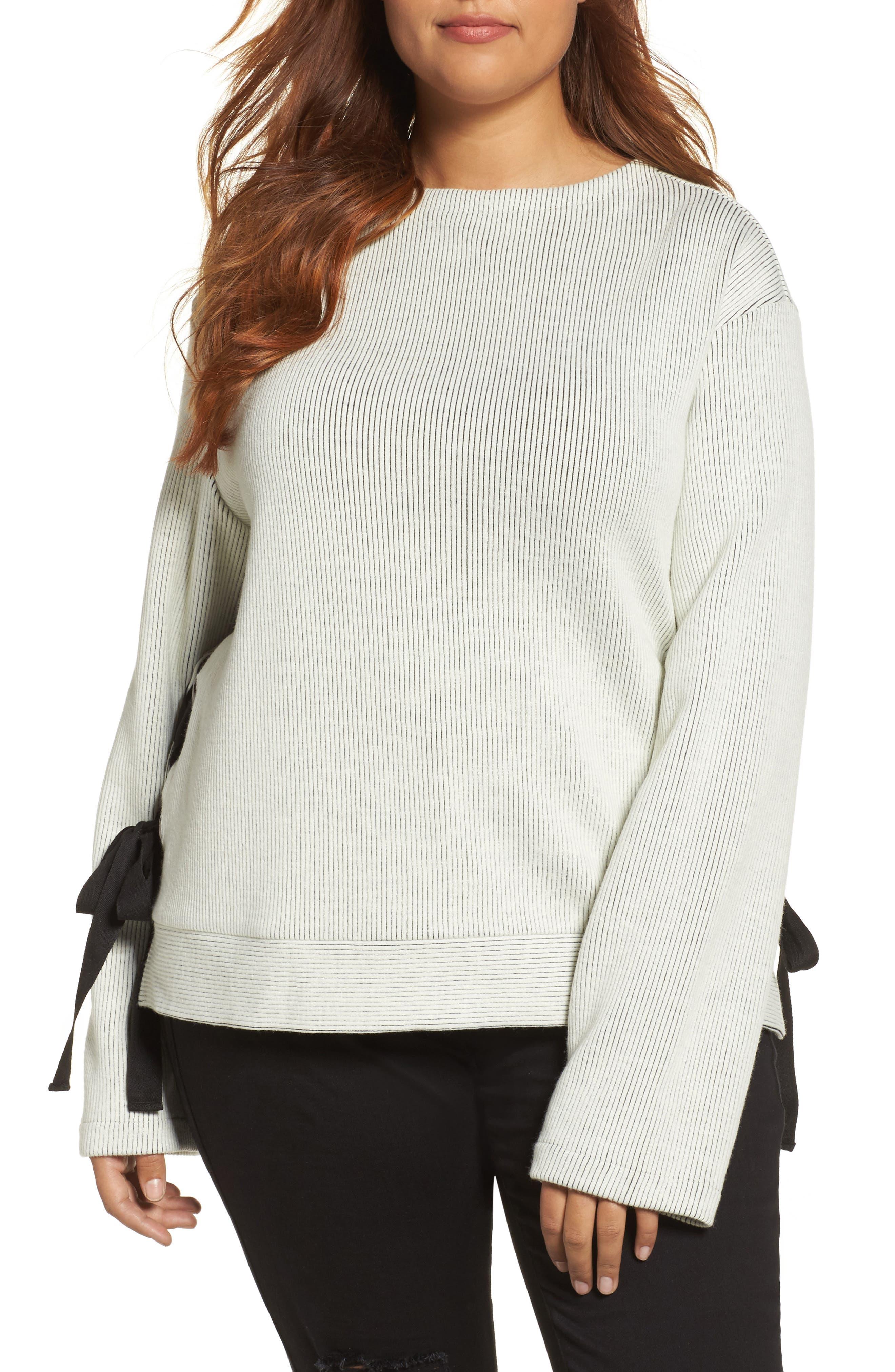 Alternate Image 1 Selected - ELVI Ribbed Eyelet Sweater (Plus Size)