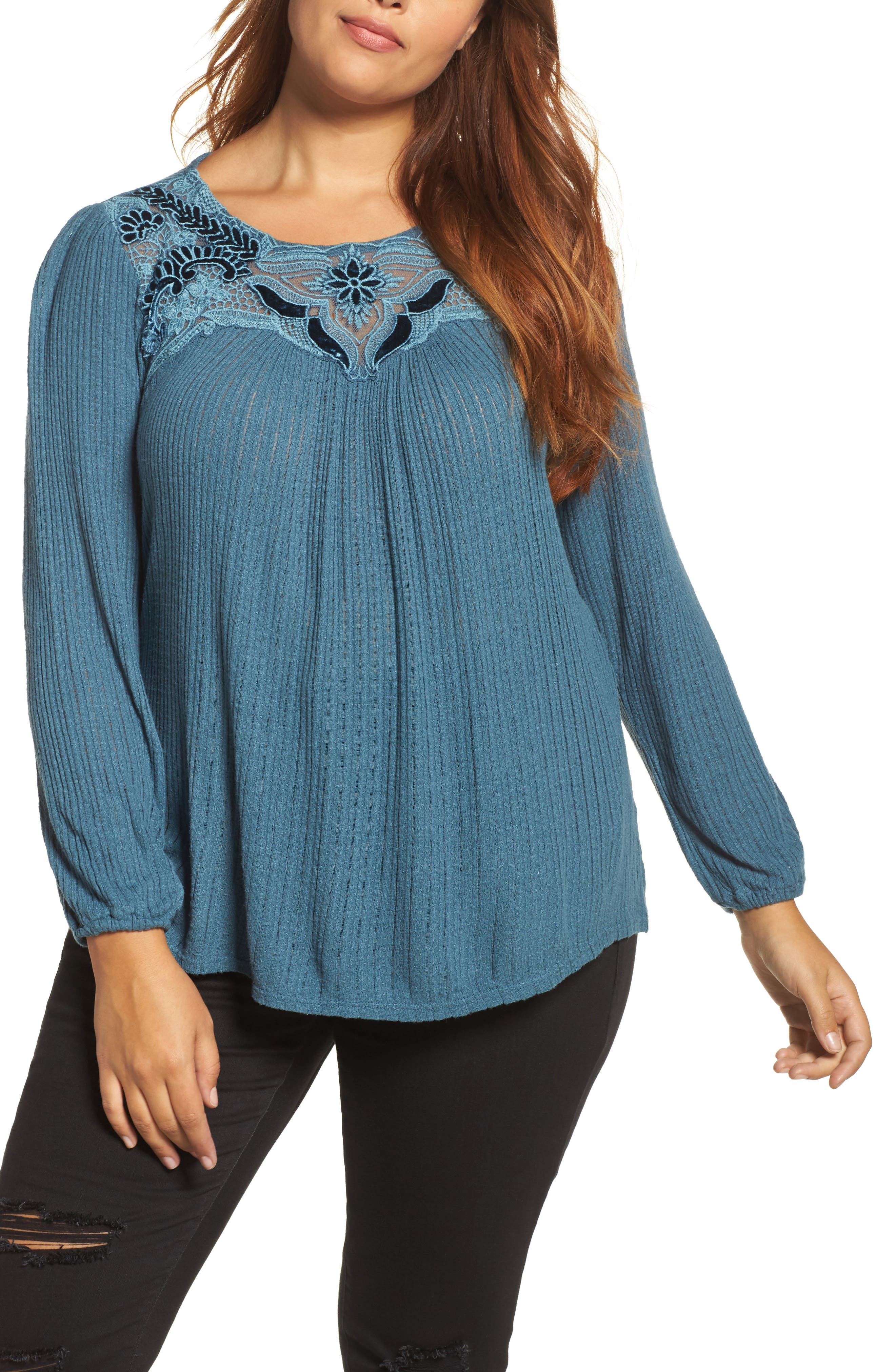 Lucky Brand Velvet Appliqué Yoke Top (Plus Size)