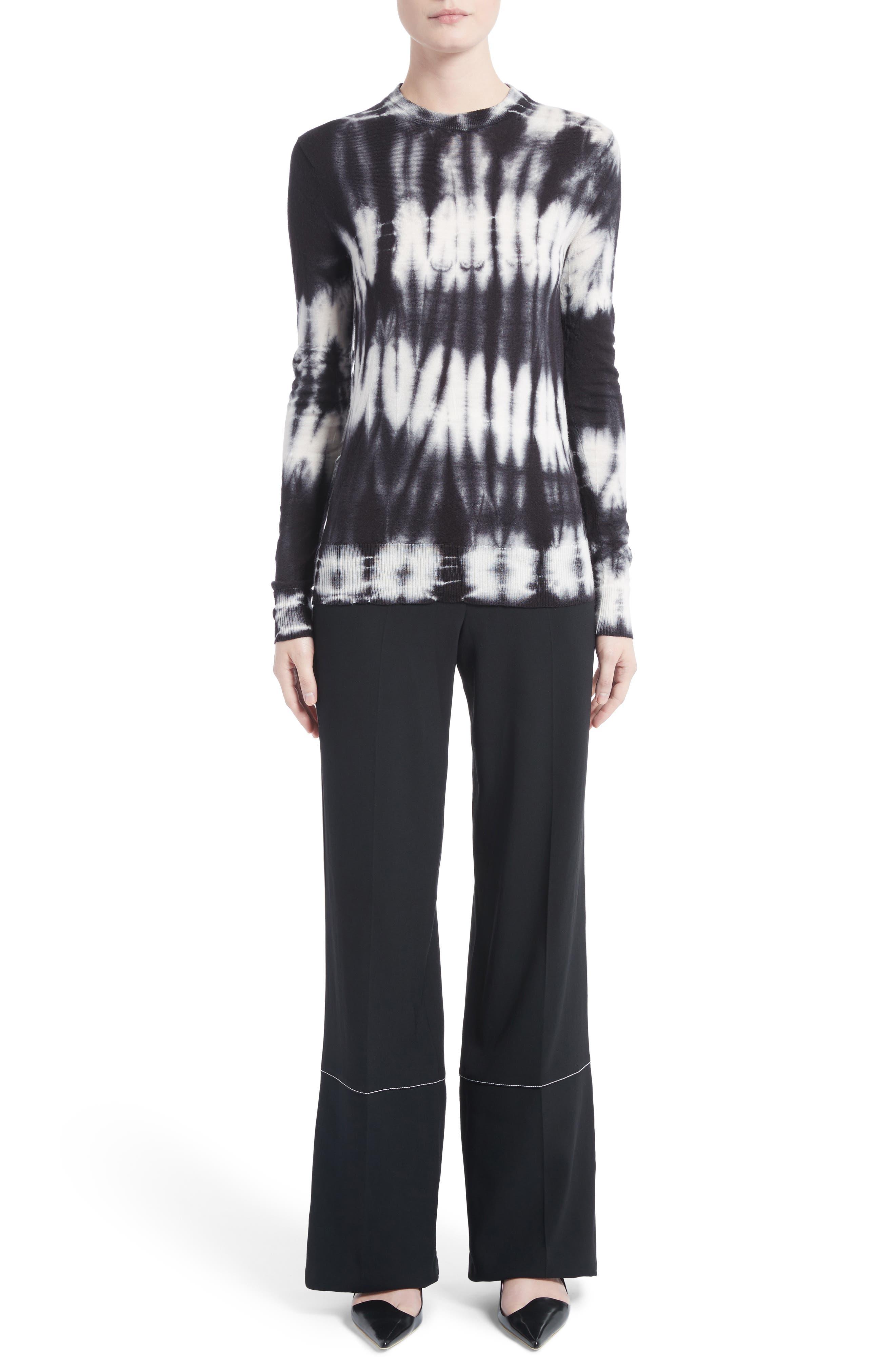 Tie Dye Wool Sweater,                             Alternate thumbnail 6, color,                             Black/ White