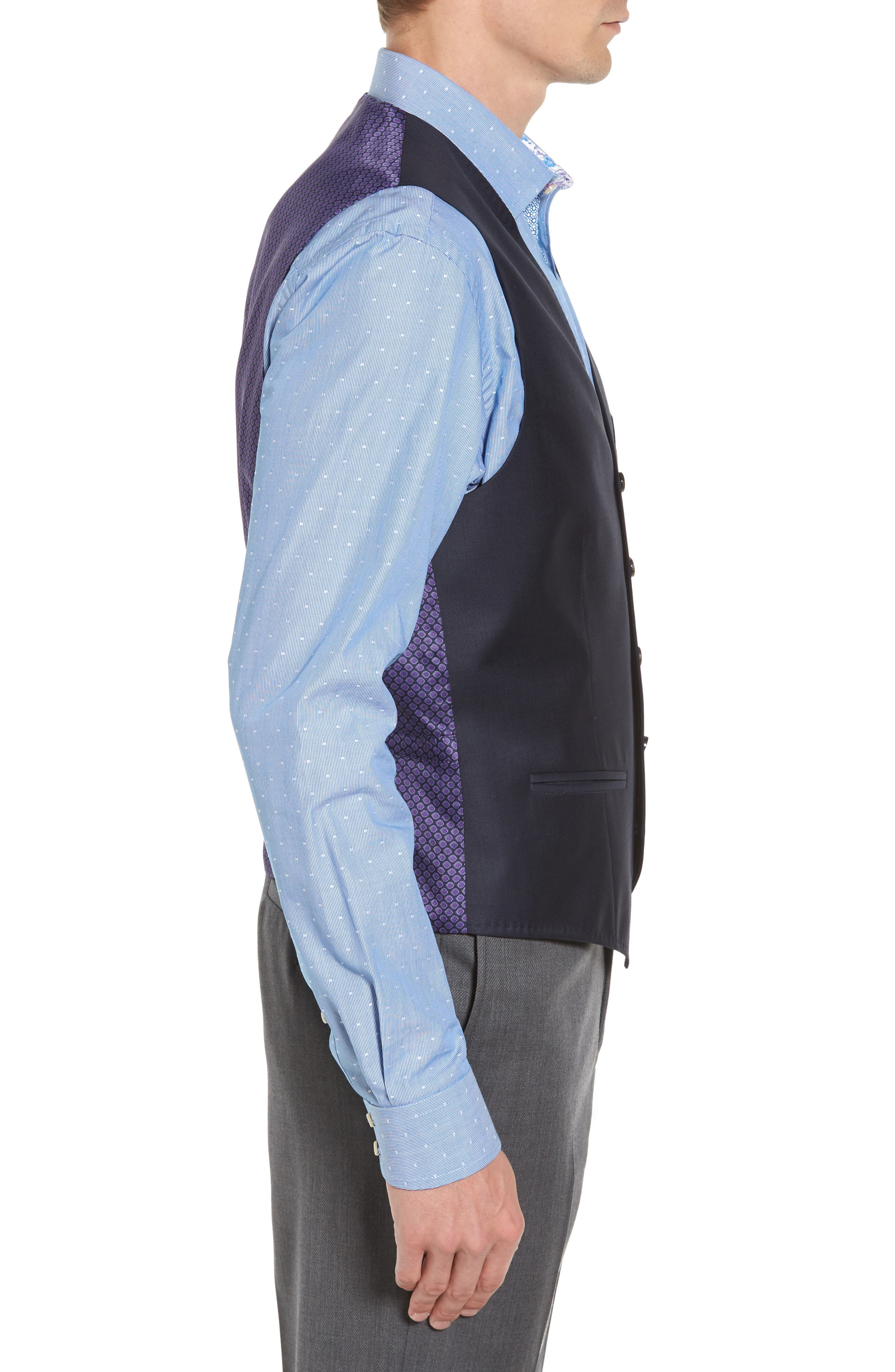 Troy Trim Fit Solid Wool Vest,                             Alternate thumbnail 3, color,                             Old Blue