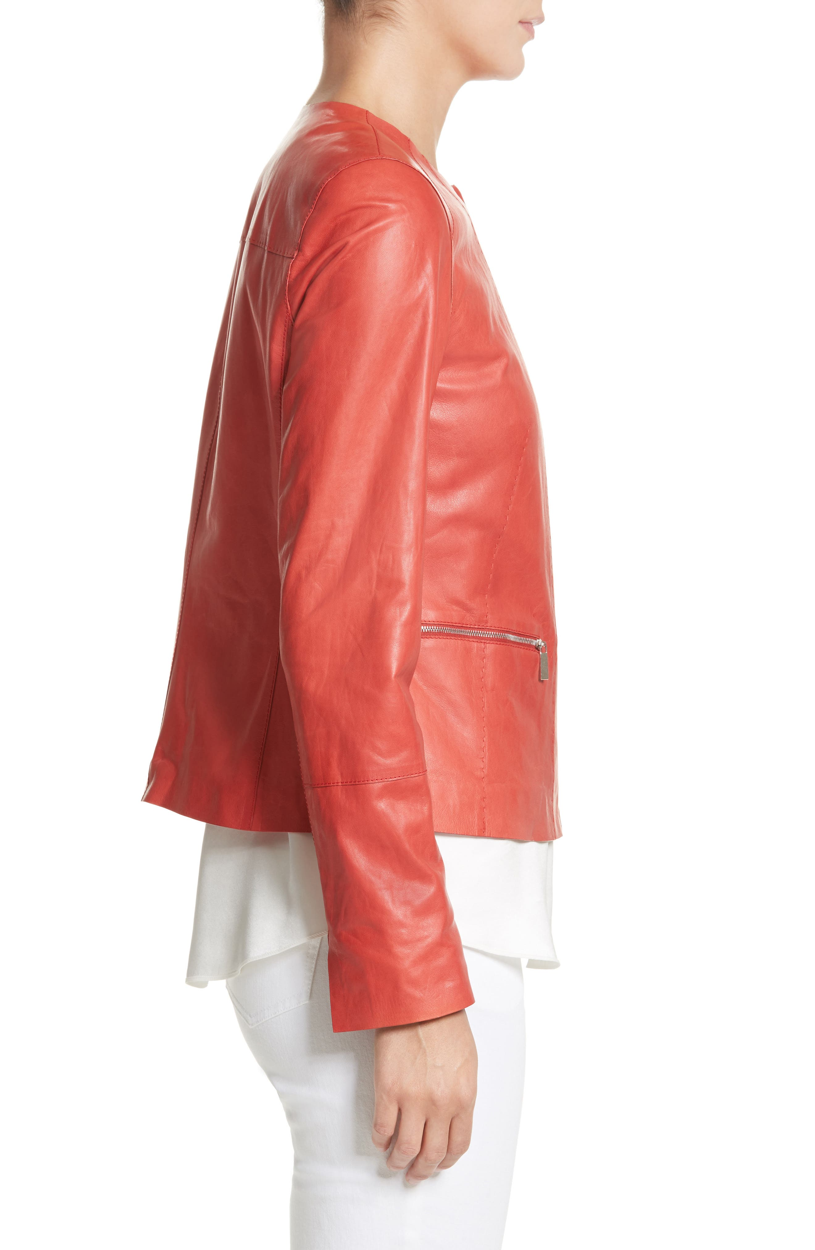 Alternate Image 4  - Lafayette 148 New York Caridee Glazed Lambskin Leather Jacket