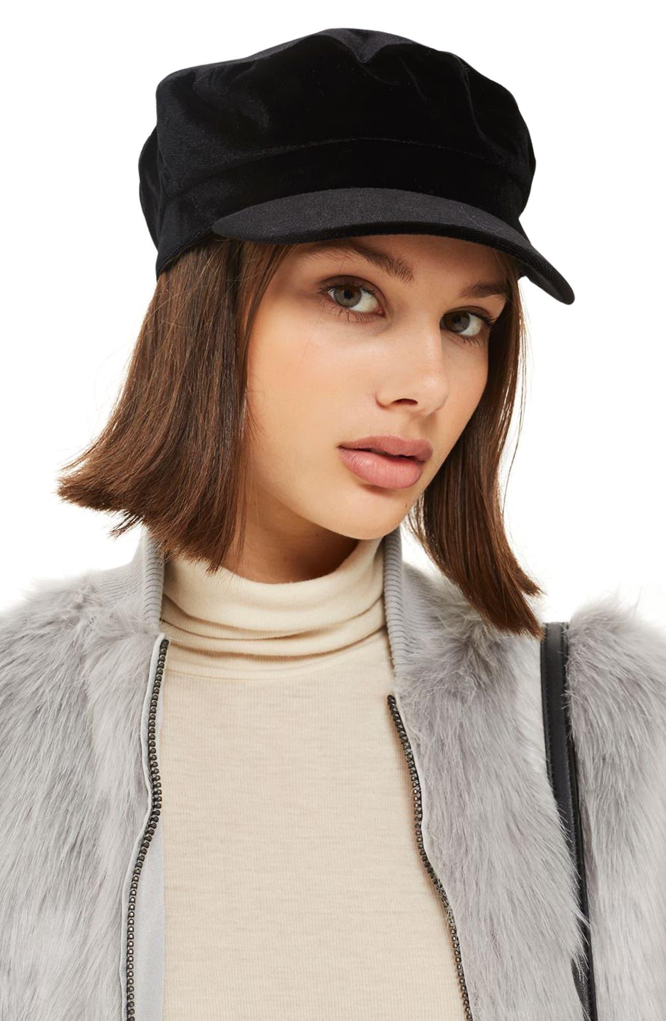 Velvet Baker Hat,                         Main,                         color, Black