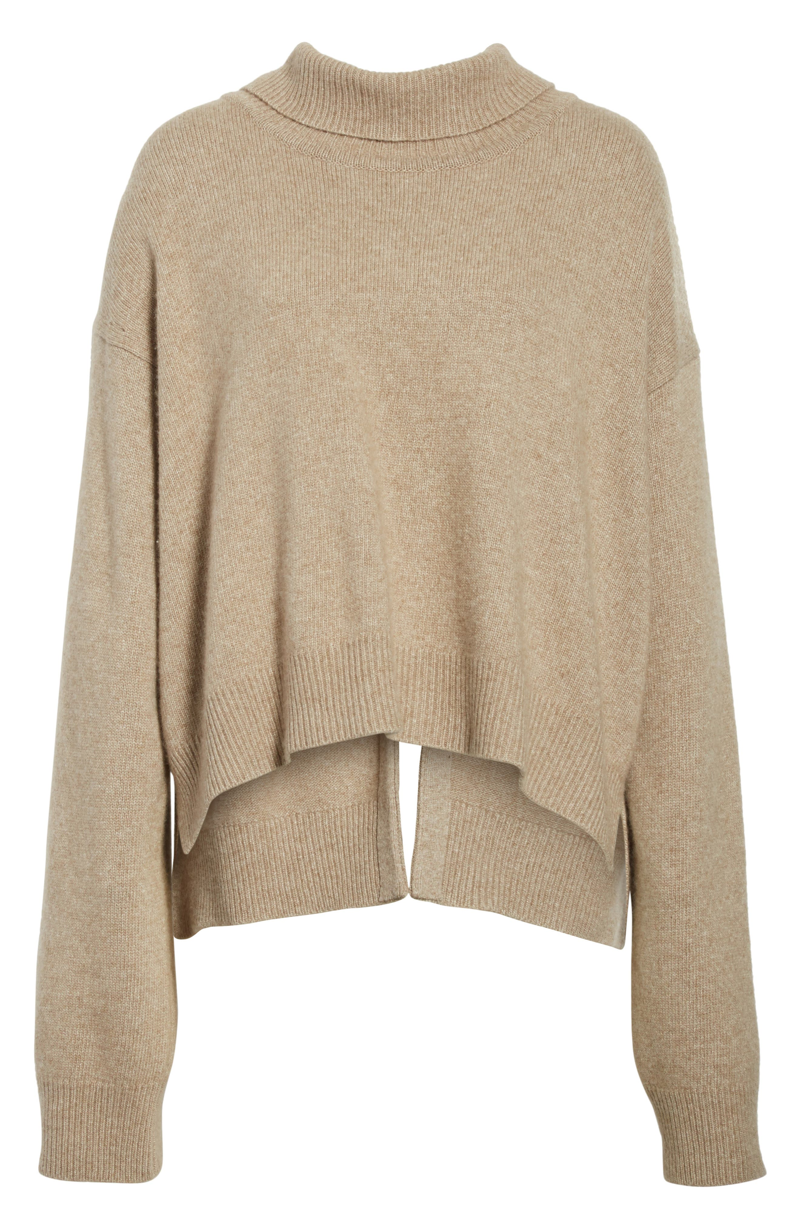 Oversized Tie Back Sweater,                             Alternate thumbnail 7, color,                             Knit Beige