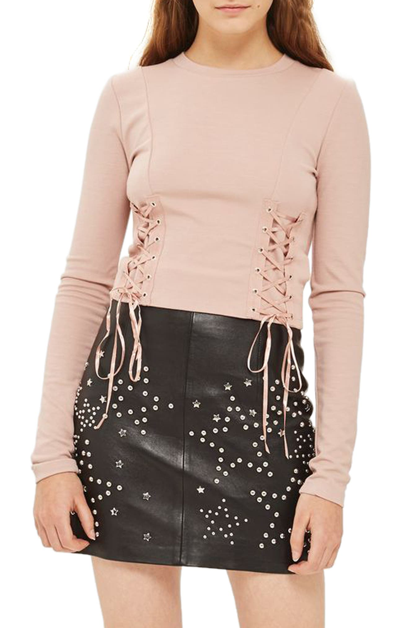 Lace-Up Crop Top,                         Main,                         color, Nude