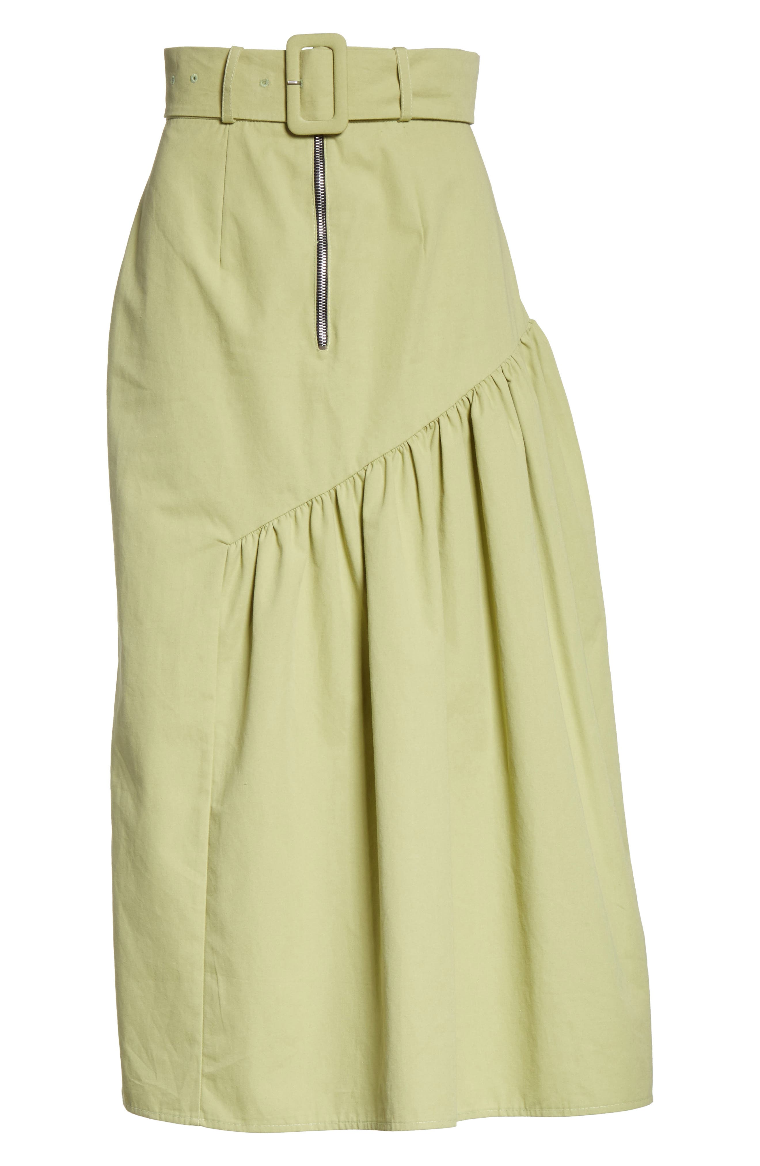Belted High Waist Ruffle Skirt,                             Alternate thumbnail 8, color,                             Cotton Sage Green