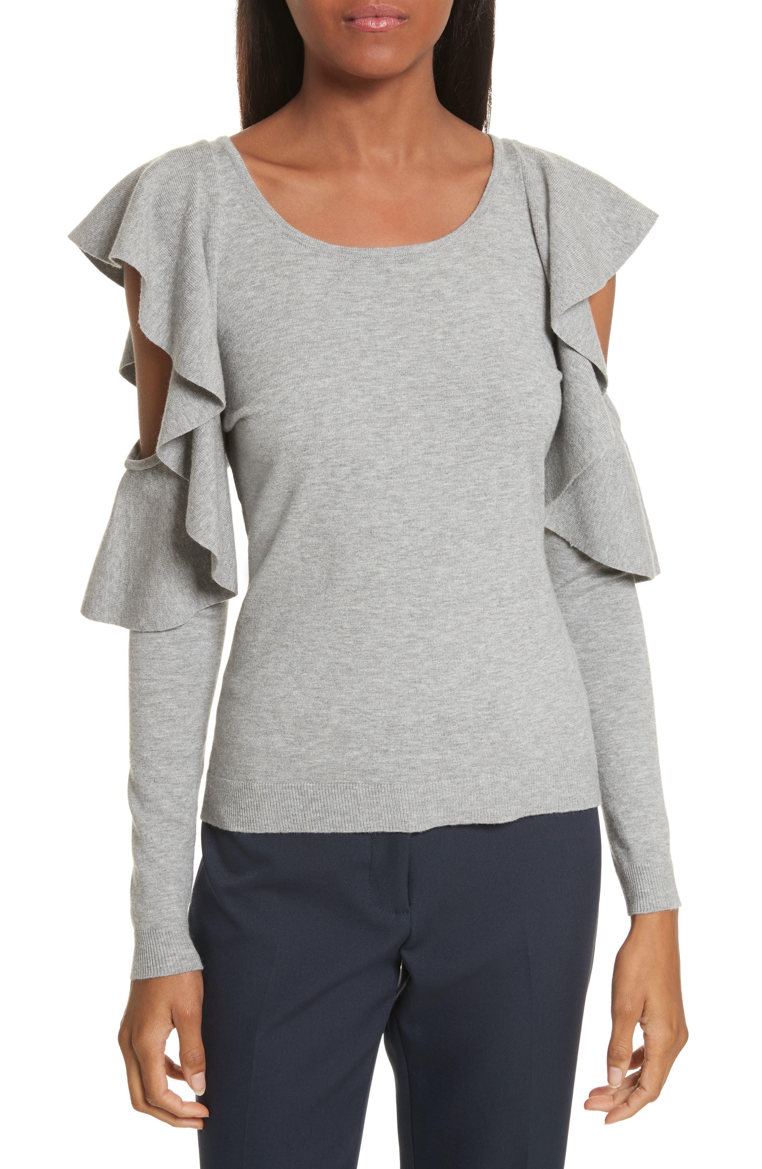 Cutout Sleeve Top,                         Main,                         color, Heather Grey
