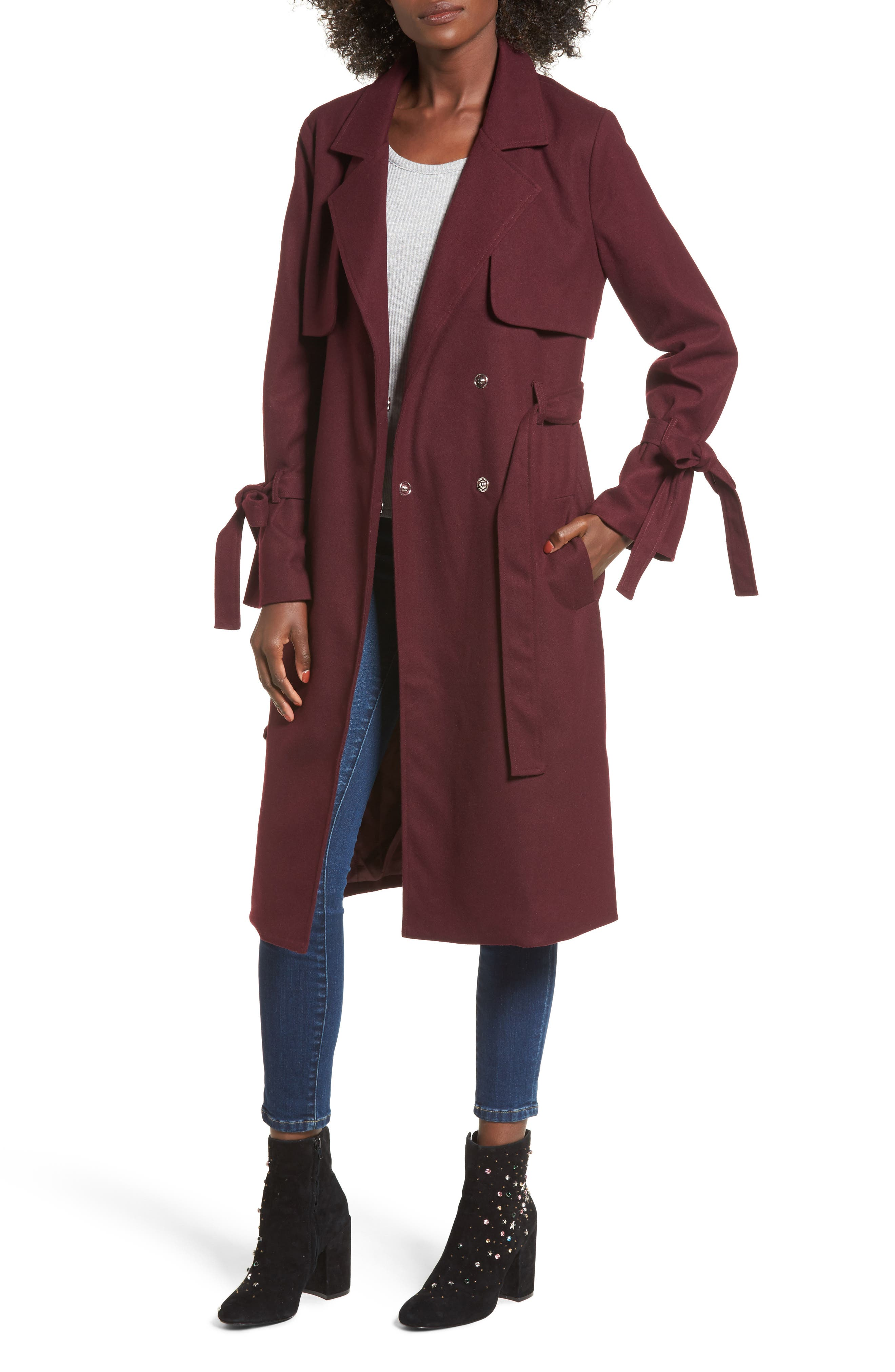 Tie Sleeve Trench Coat,                         Main,                         color, Red Tannin