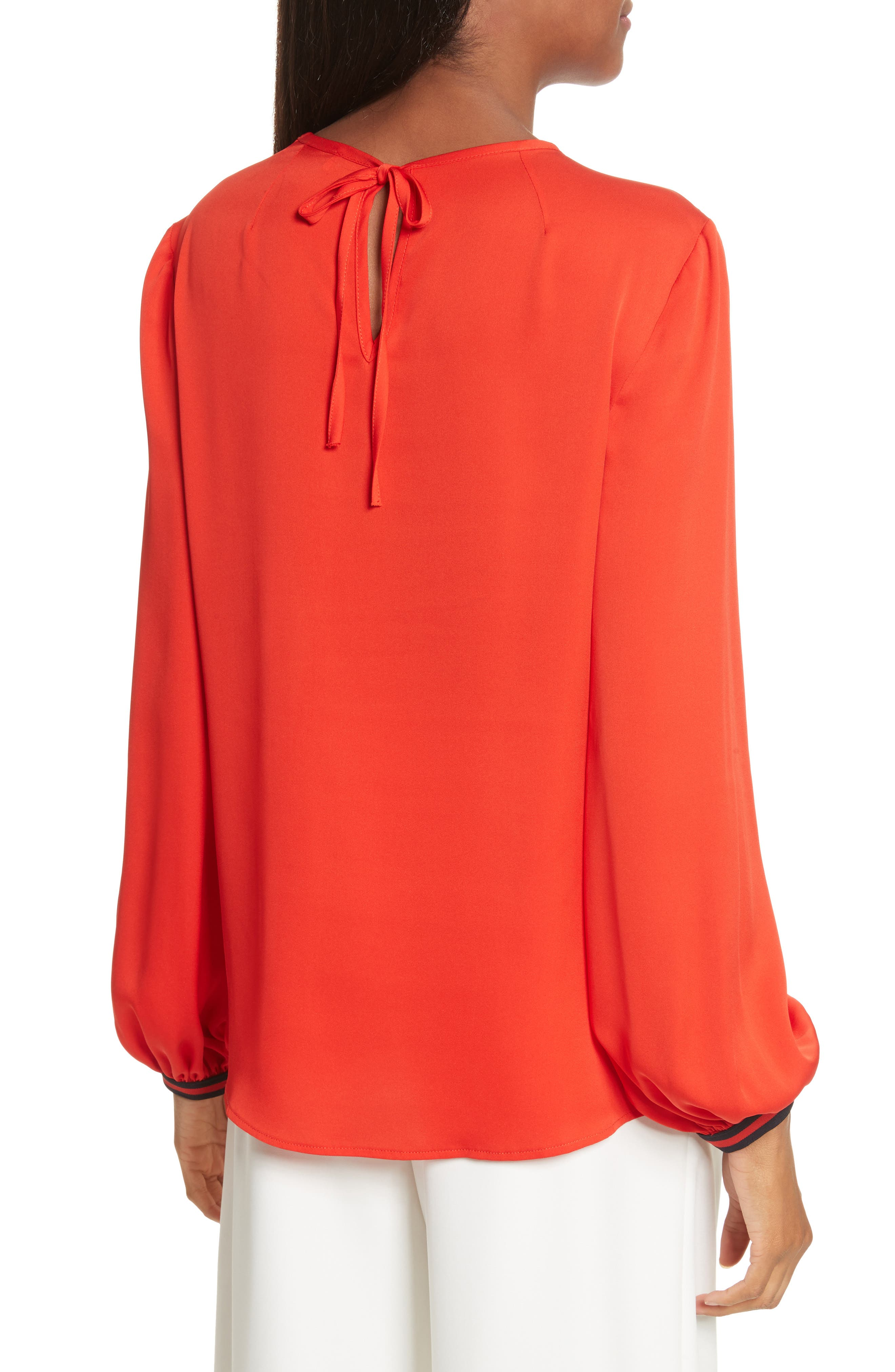 Mandy Stretch Silk Top,                             Alternate thumbnail 2, color,                             Poppy
