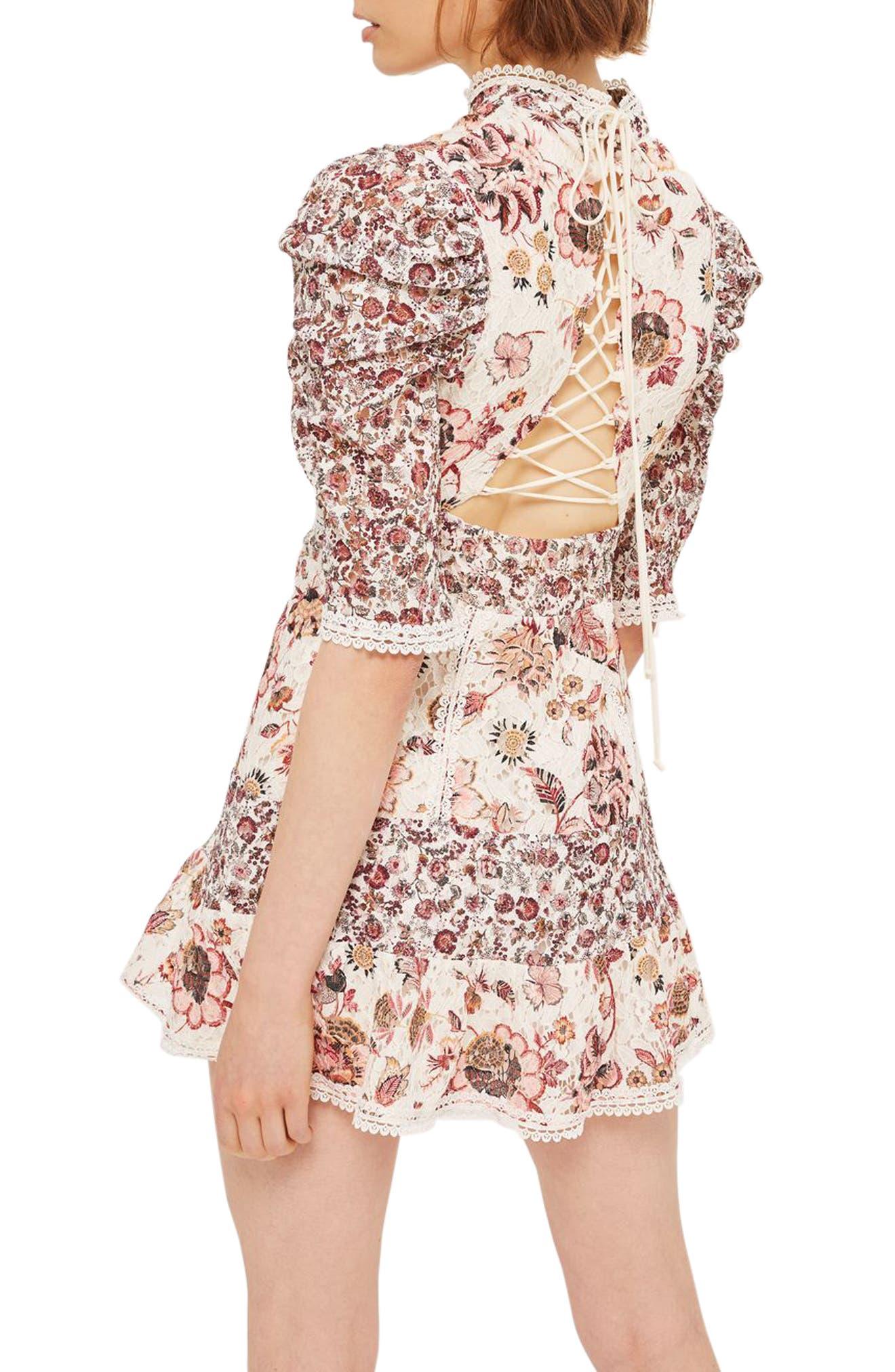 Alternate Image 2  - Topshop Floral Lace Strappy Back Dress