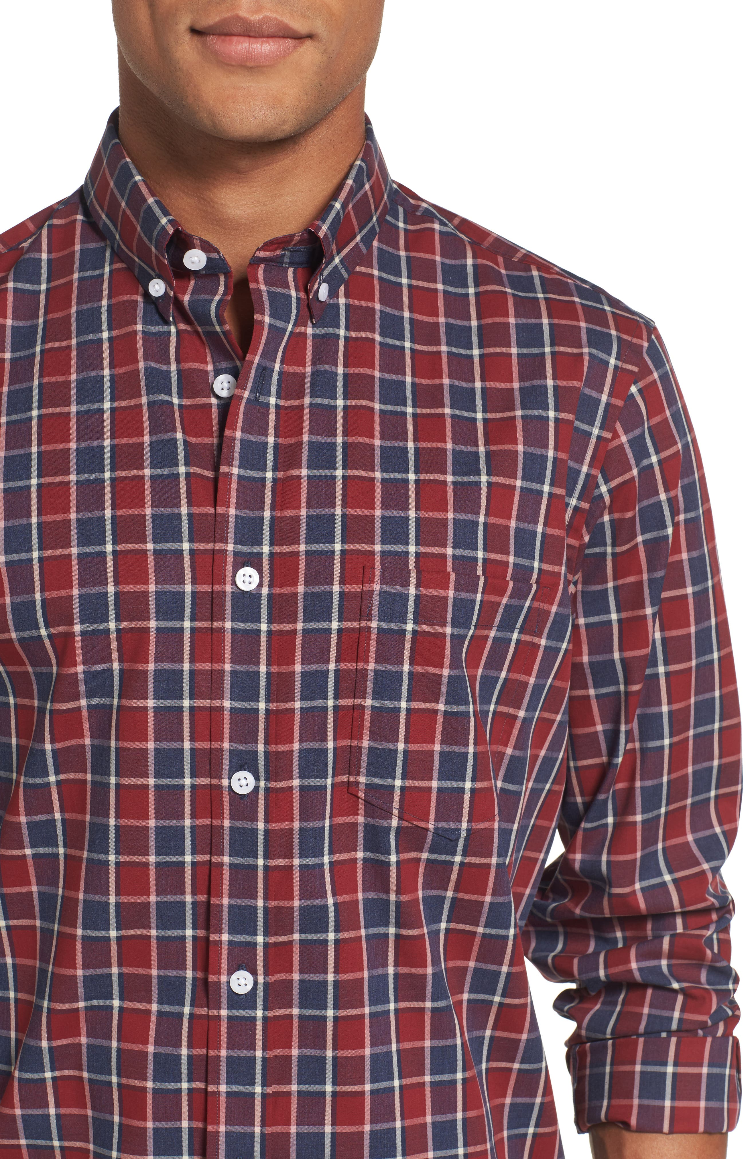 Non-Iron Check Sport Shirt,                             Alternate thumbnail 4, color,                             Red Ruby Heathered Check