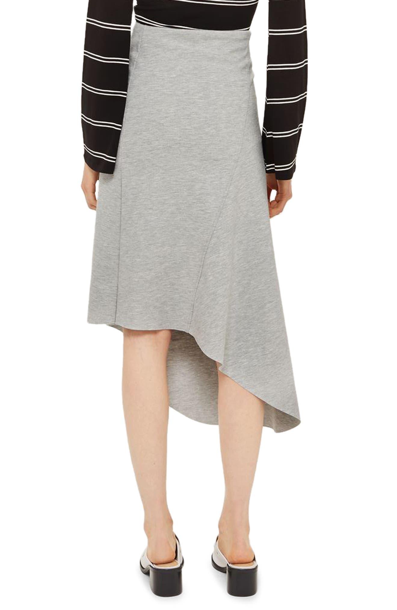 Split Asymmetric Jersey Midi Skirt,                             Alternate thumbnail 2, color,                             Grey Marl
