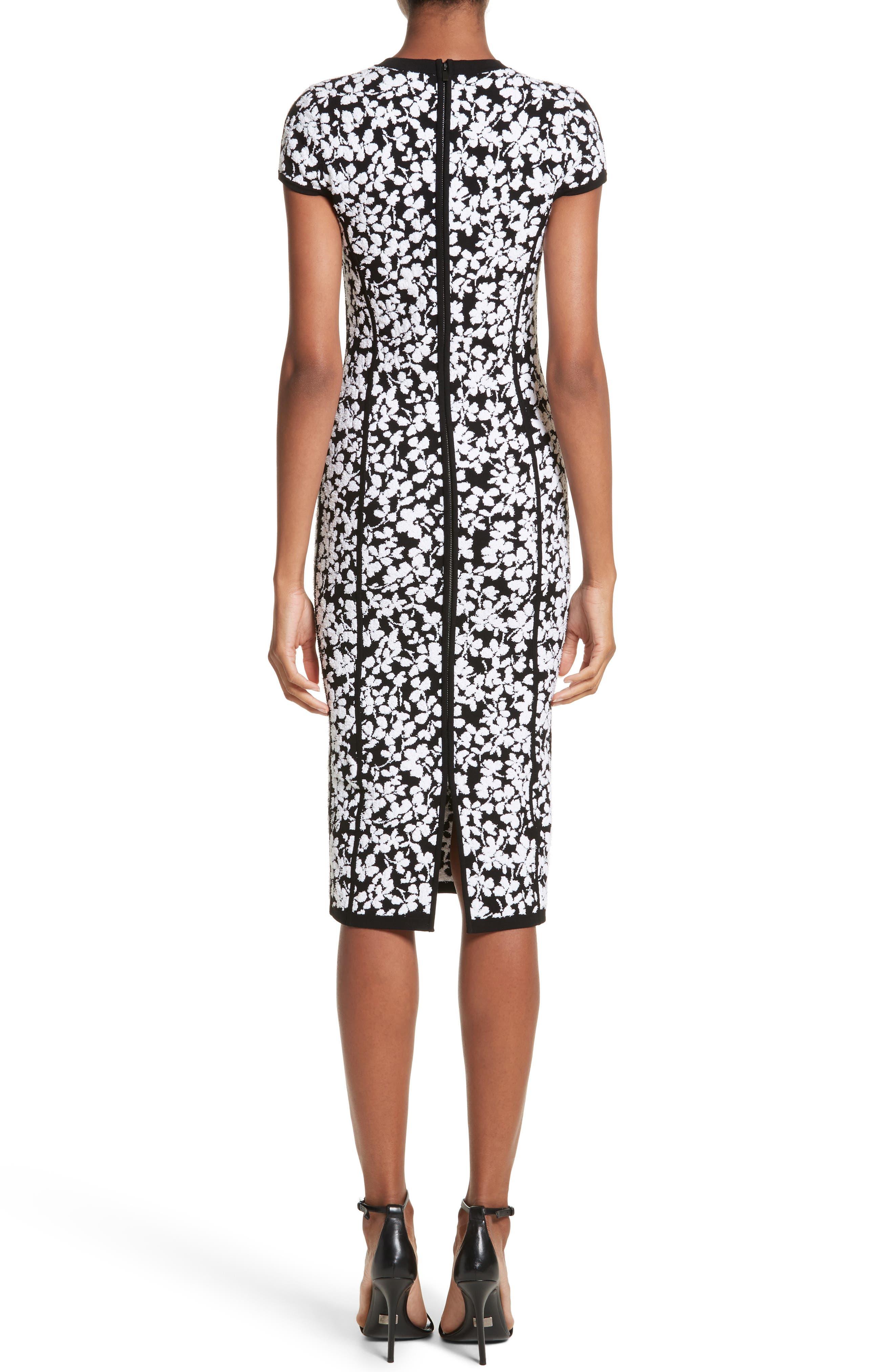 Floral Jacquard Sheath Dress,                             Alternate thumbnail 2, color,                             Black
