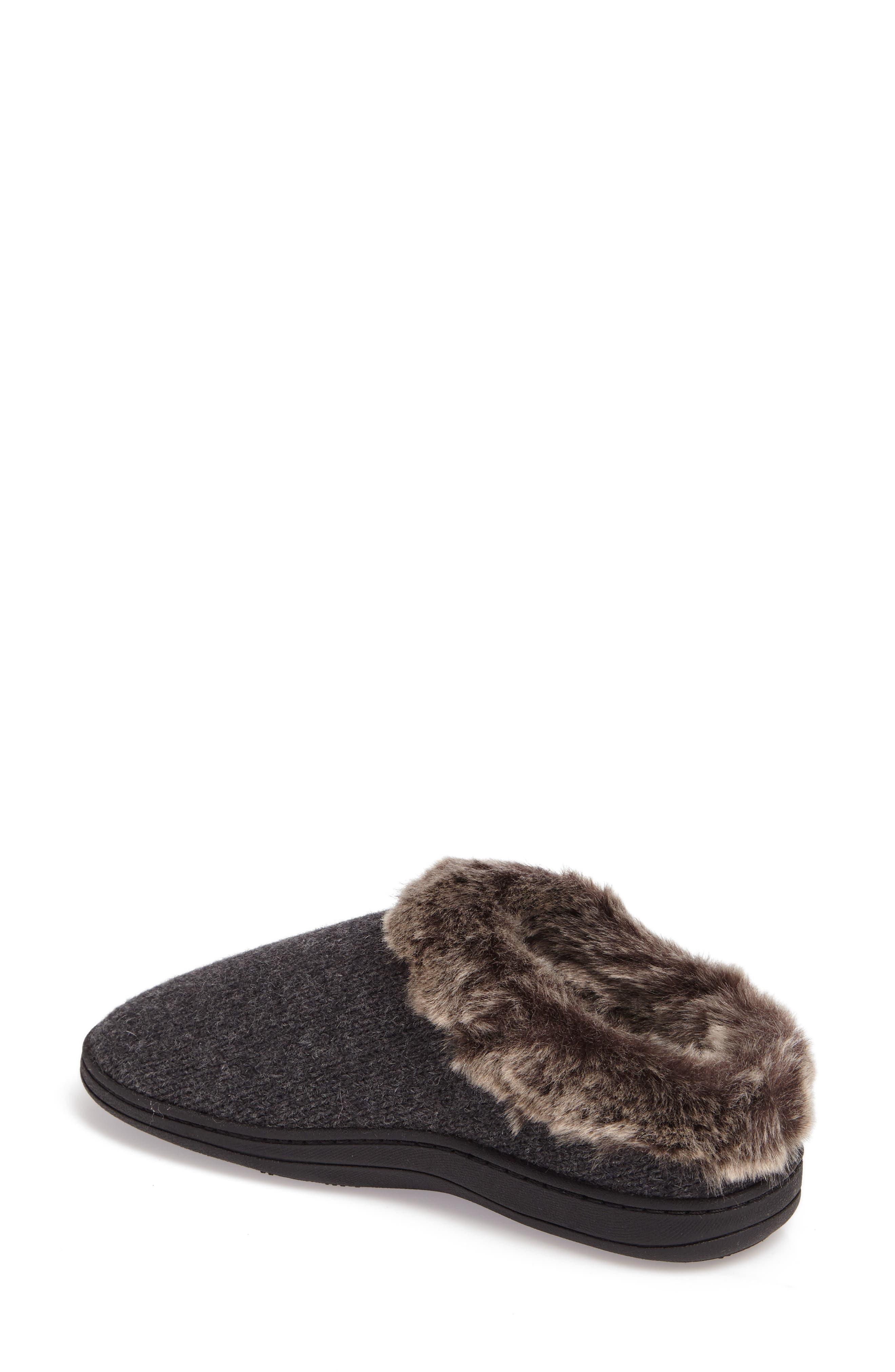 Chinchilla Faux Fur Slipper,                             Alternate thumbnail 2, color,                             Dark Charcoal Heather