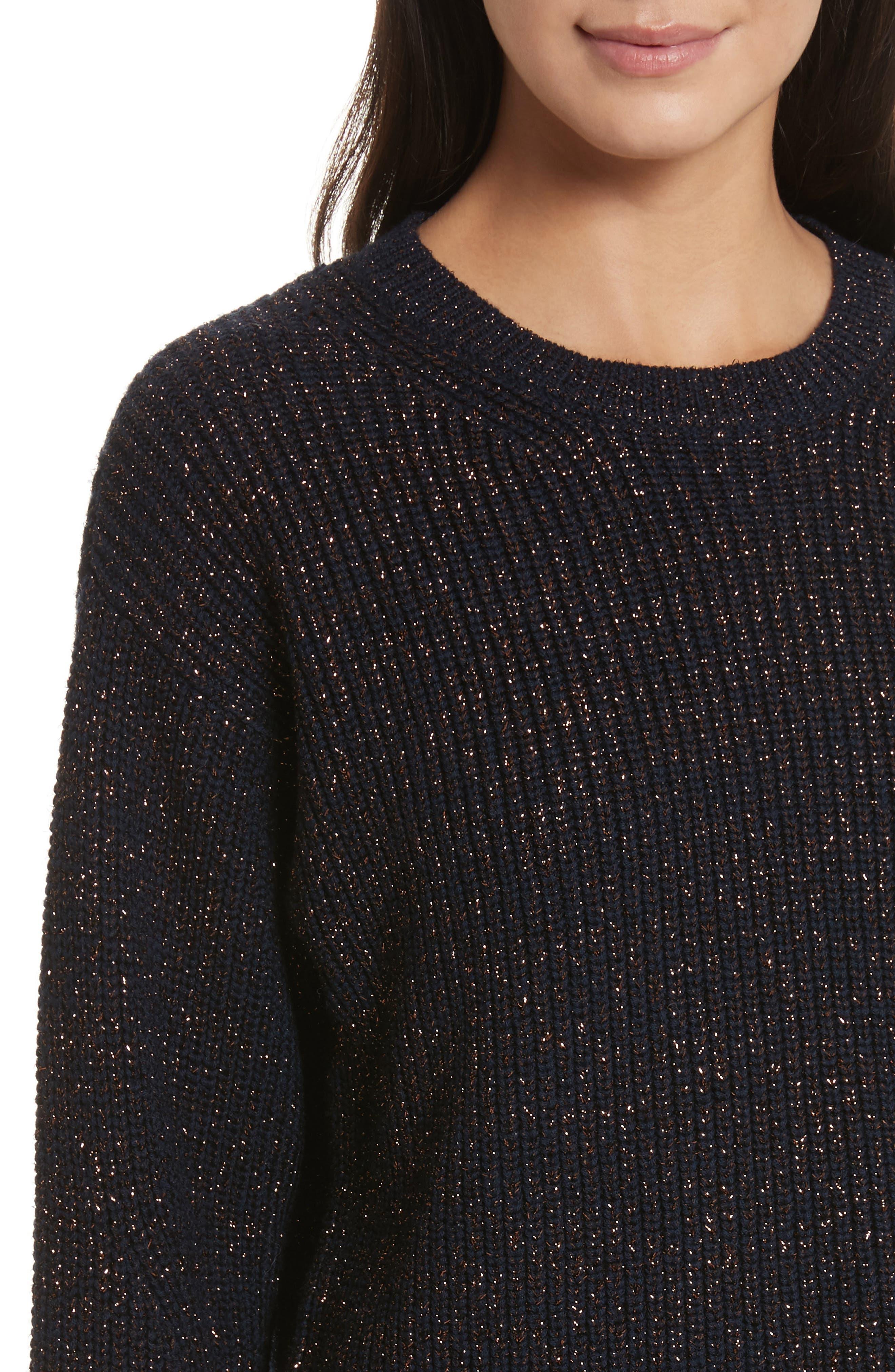 Leyton Metallic Knit Merino Wool Blend Sweater,                             Alternate thumbnail 5, color,                             Navy