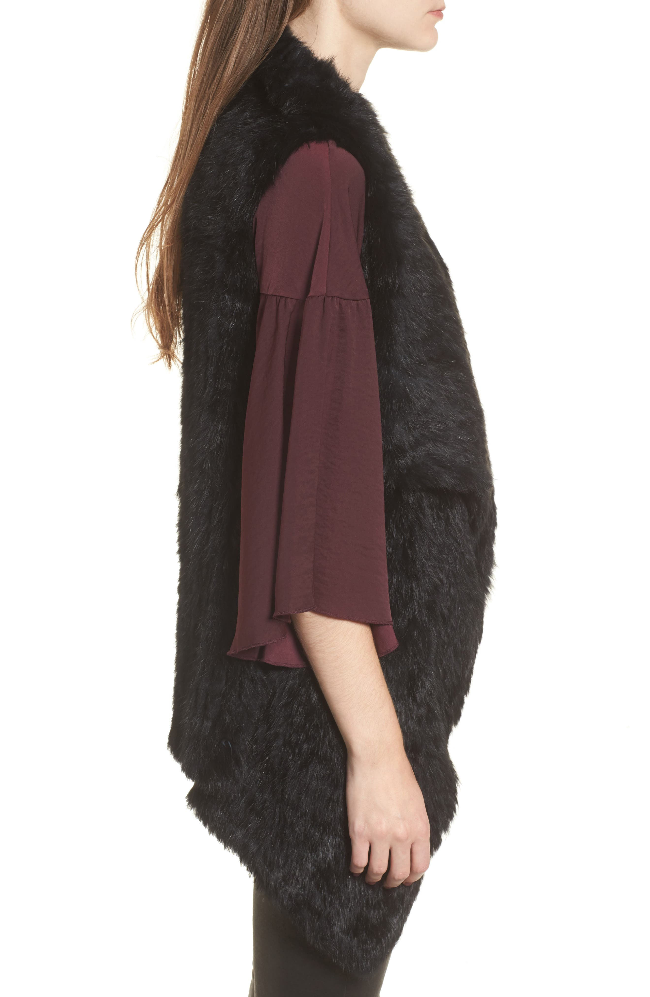 Alternate Image 3  - Love Token Long Drape Genuine Rabbit Fur Vest