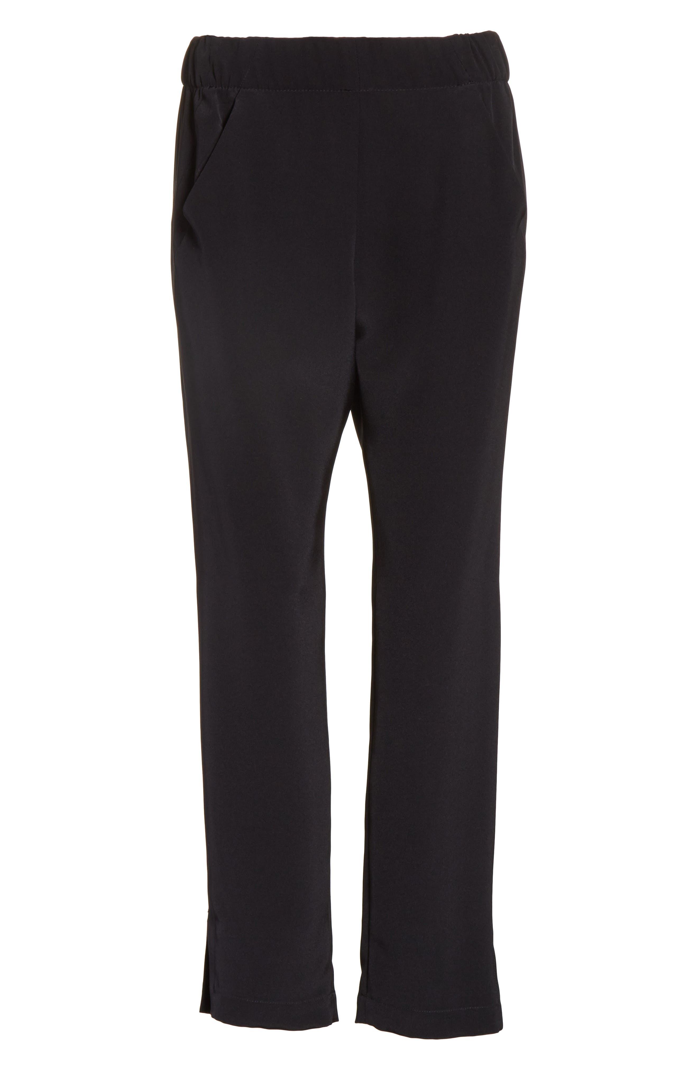 Elli Slim Leg Pants,                             Alternate thumbnail 6, color,                             Black
