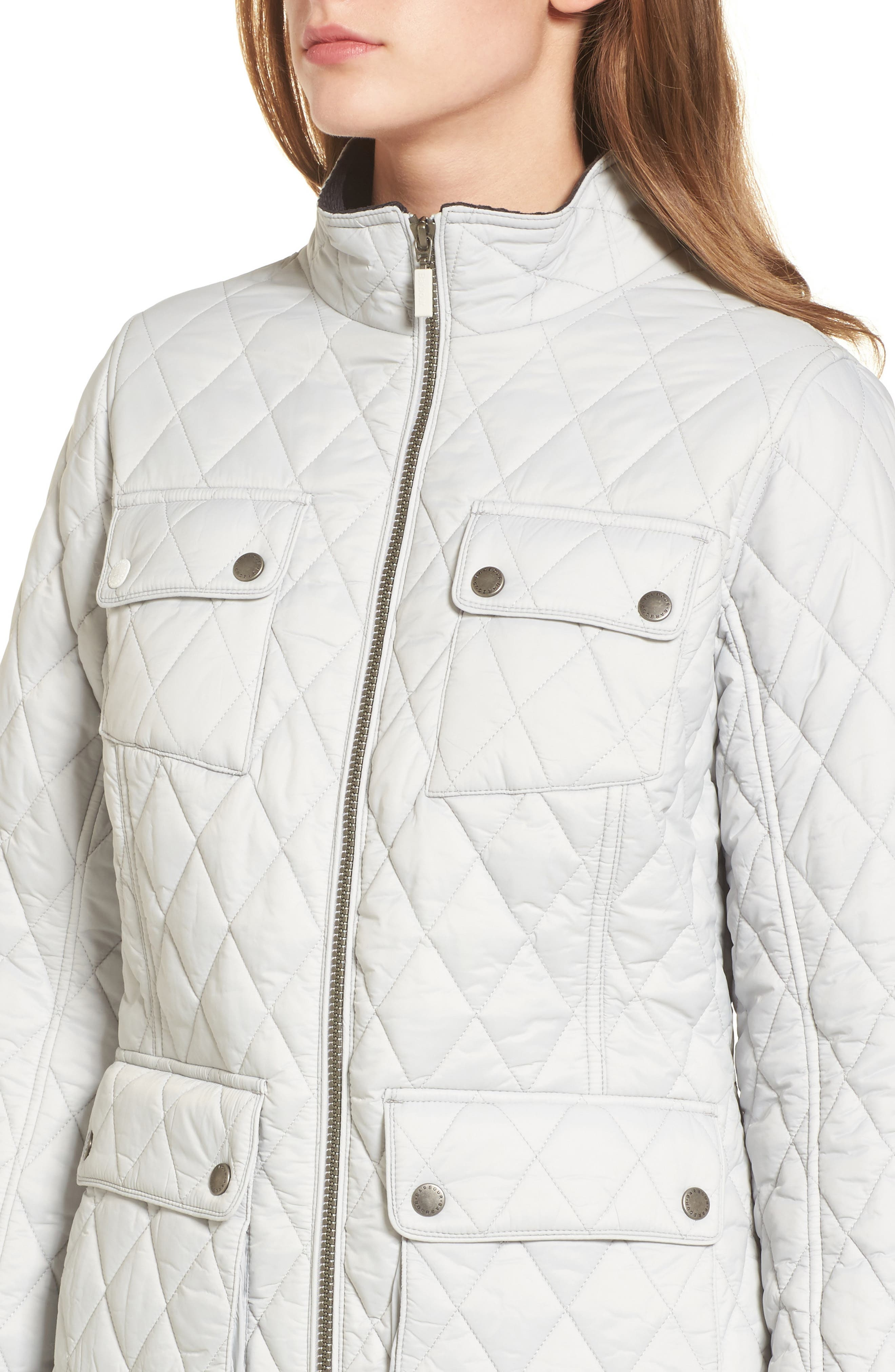 Dolostone Quilted Jacket,                             Alternate thumbnail 4, color,                             Ice White