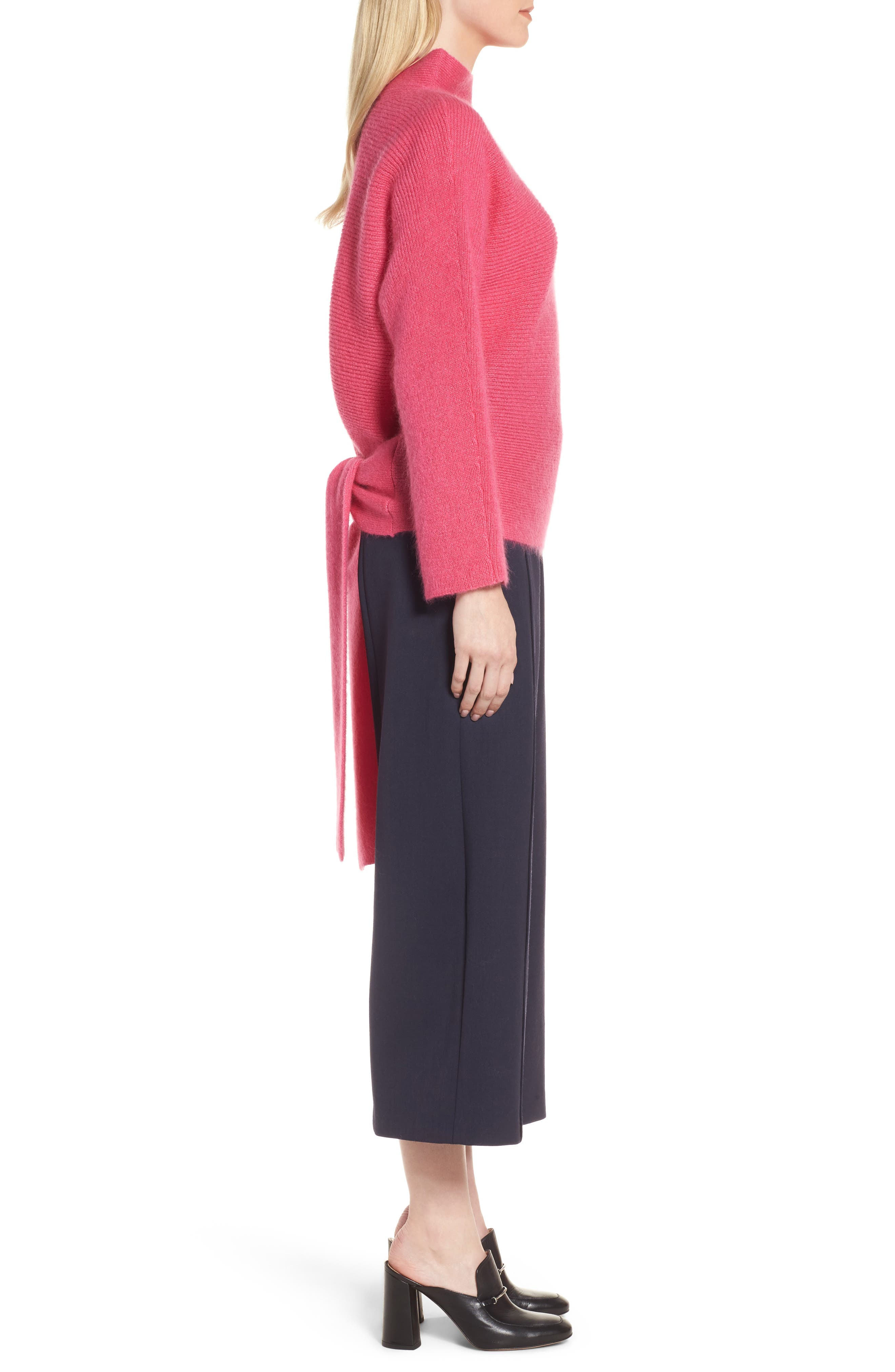 Tie Back Sweater,                             Alternate thumbnail 3, color,                             Pink Rouge