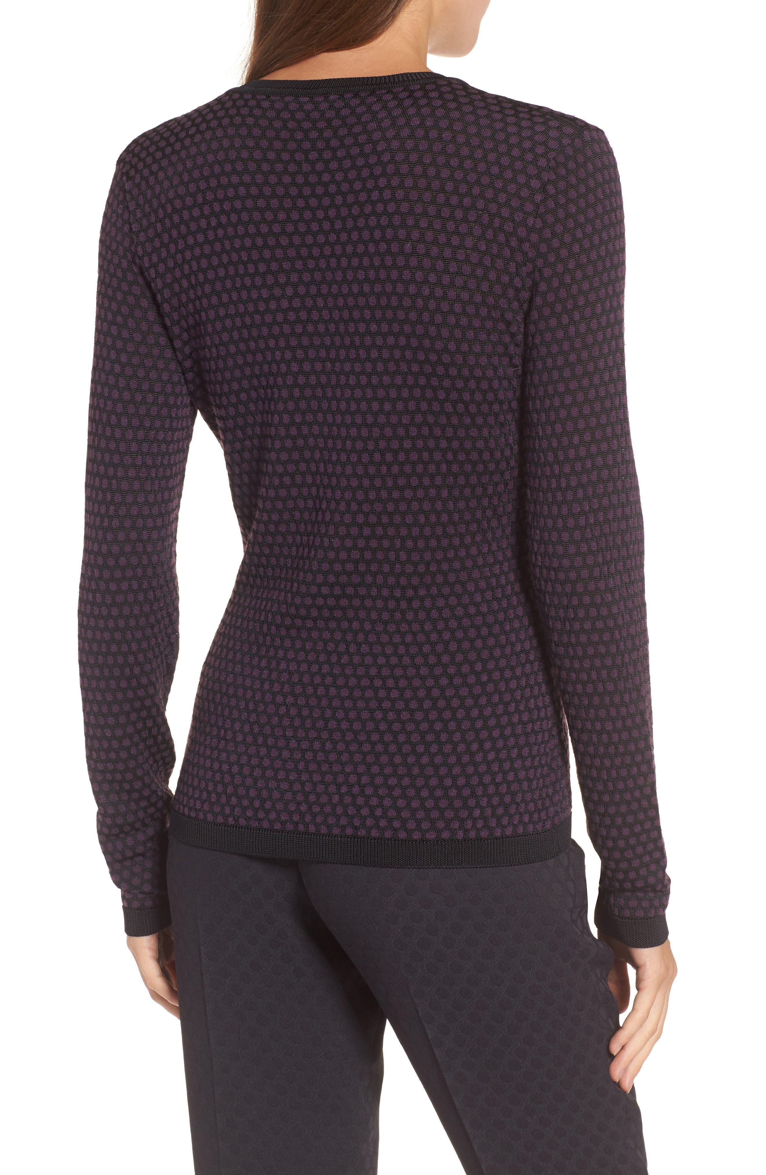 Dot Fielitza Jacquard Sweater,                             Alternate thumbnail 2, color,                             Dark Dahlia