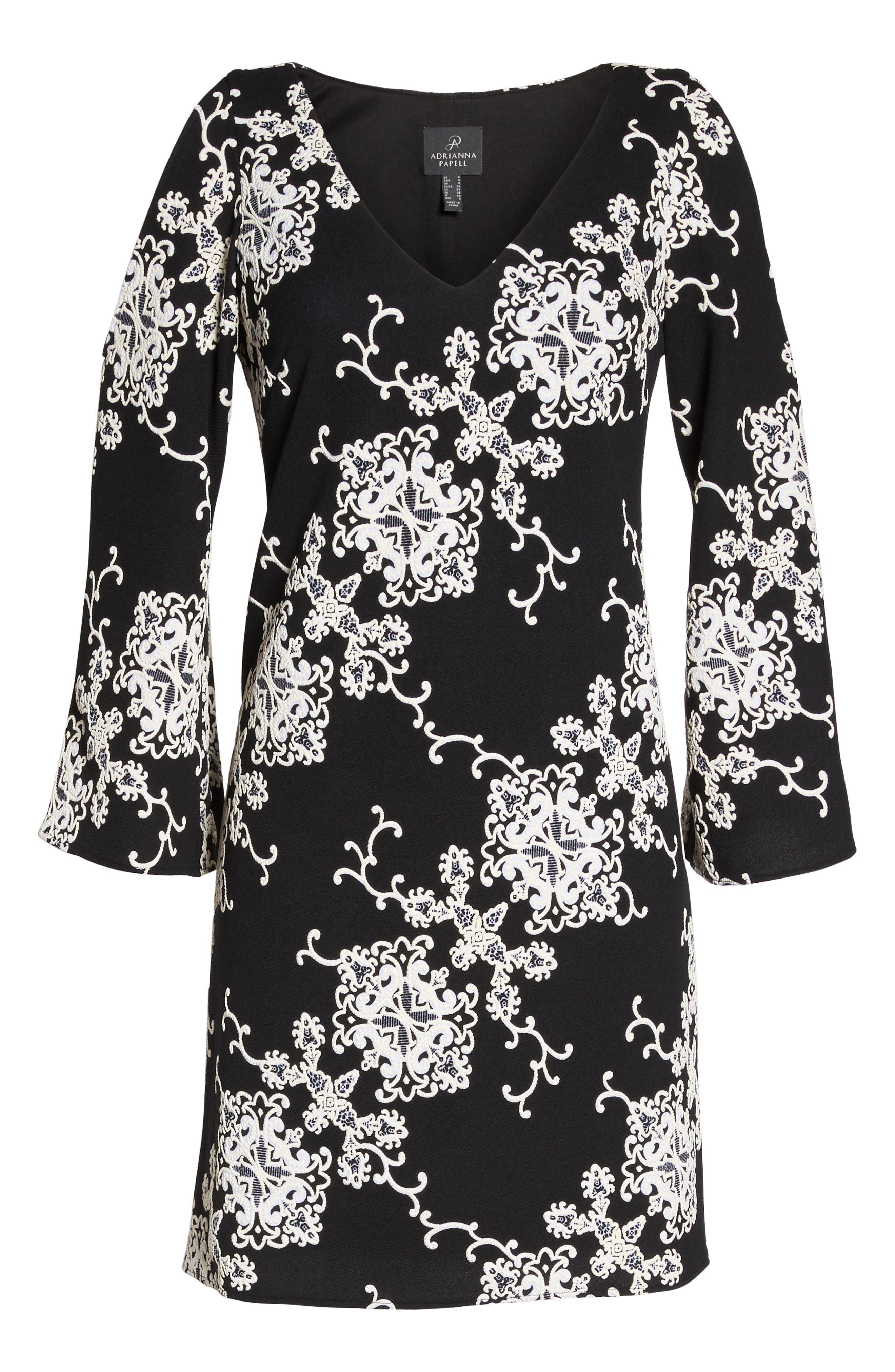 Cold Shoulder Shift Dress,                             Alternate thumbnail 6, color,                             Black/ Ivory