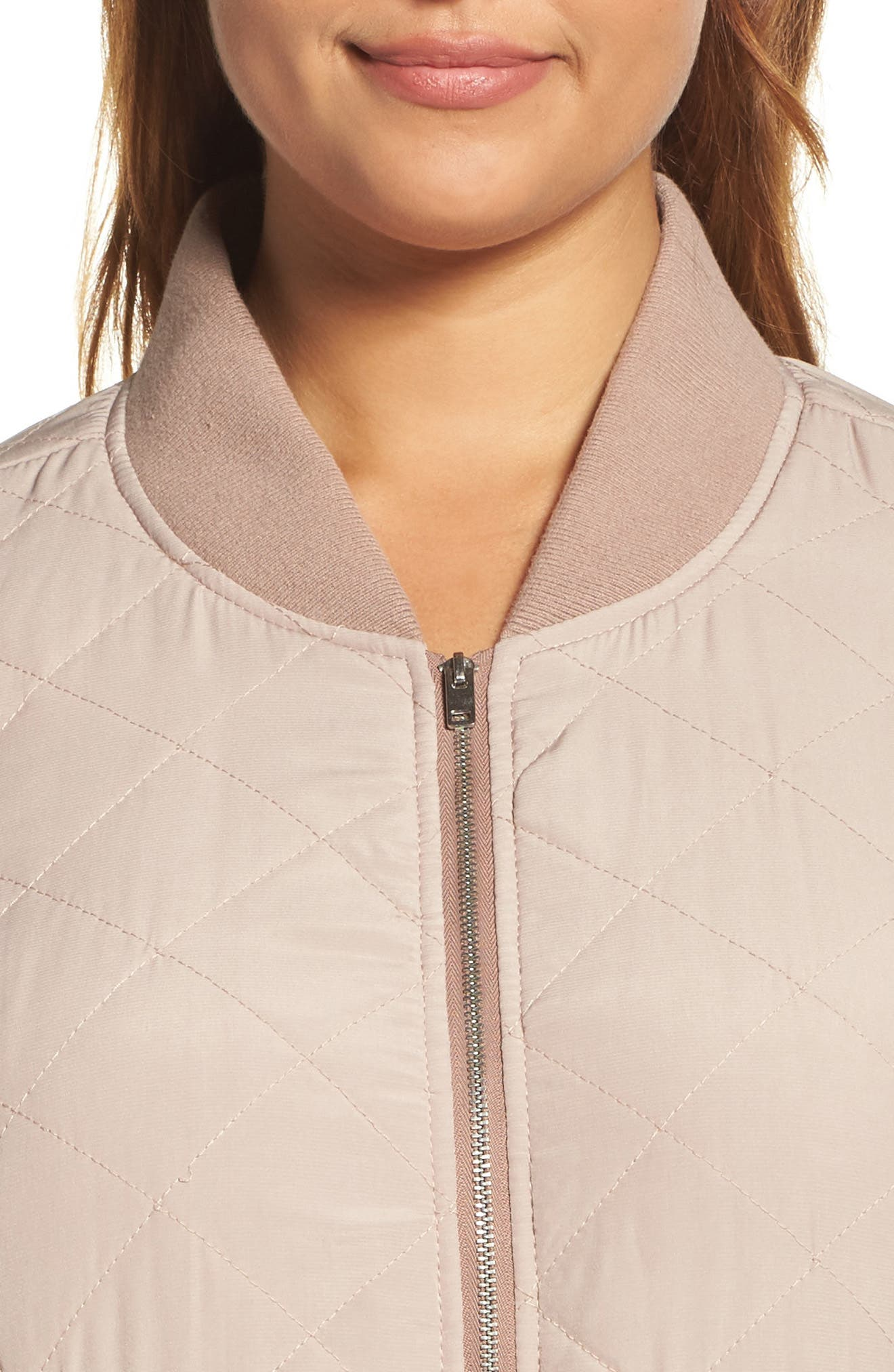 Alternate Image 4  - Lucky Brand Quilted Bomber Jacket (Plus Size)