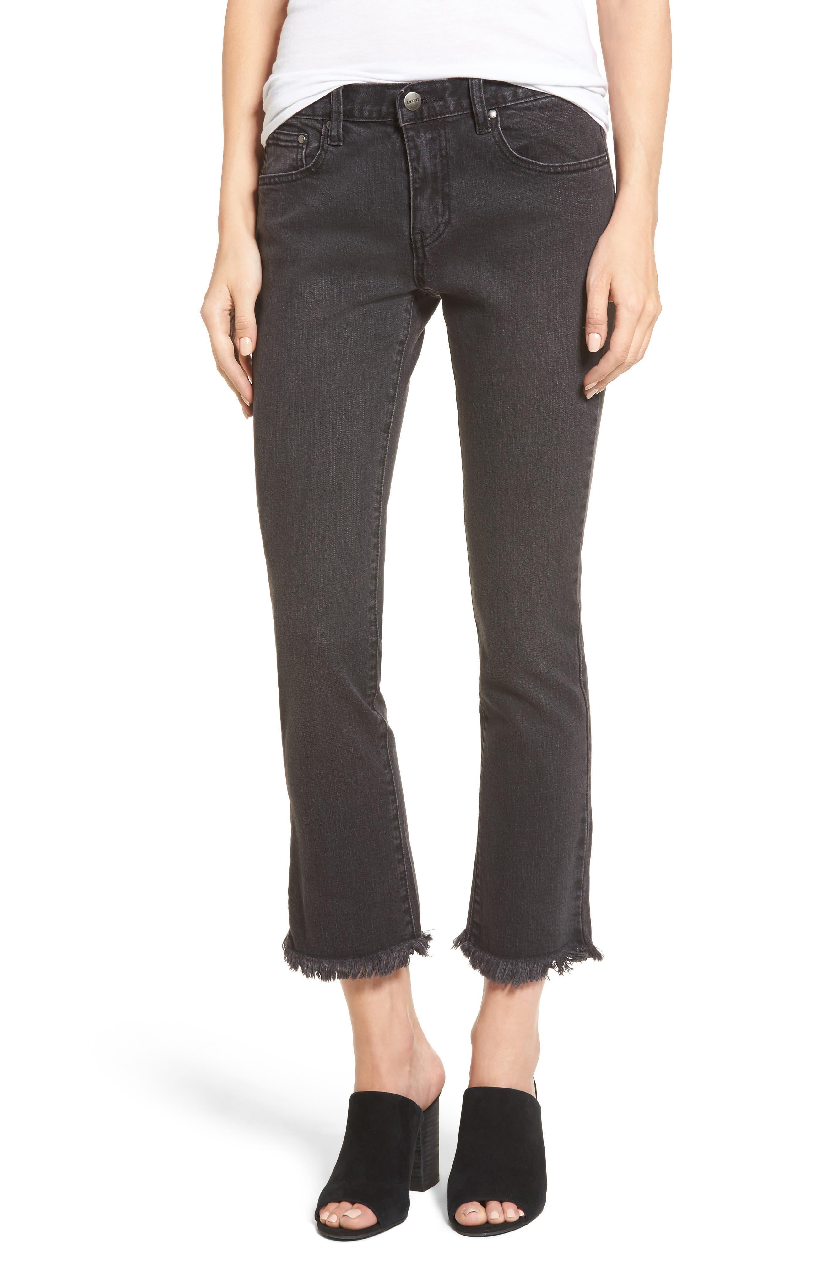 Hermosa Fray Hem Ankle Skinny Jeans,                             Main thumbnail 1, color,                             Black