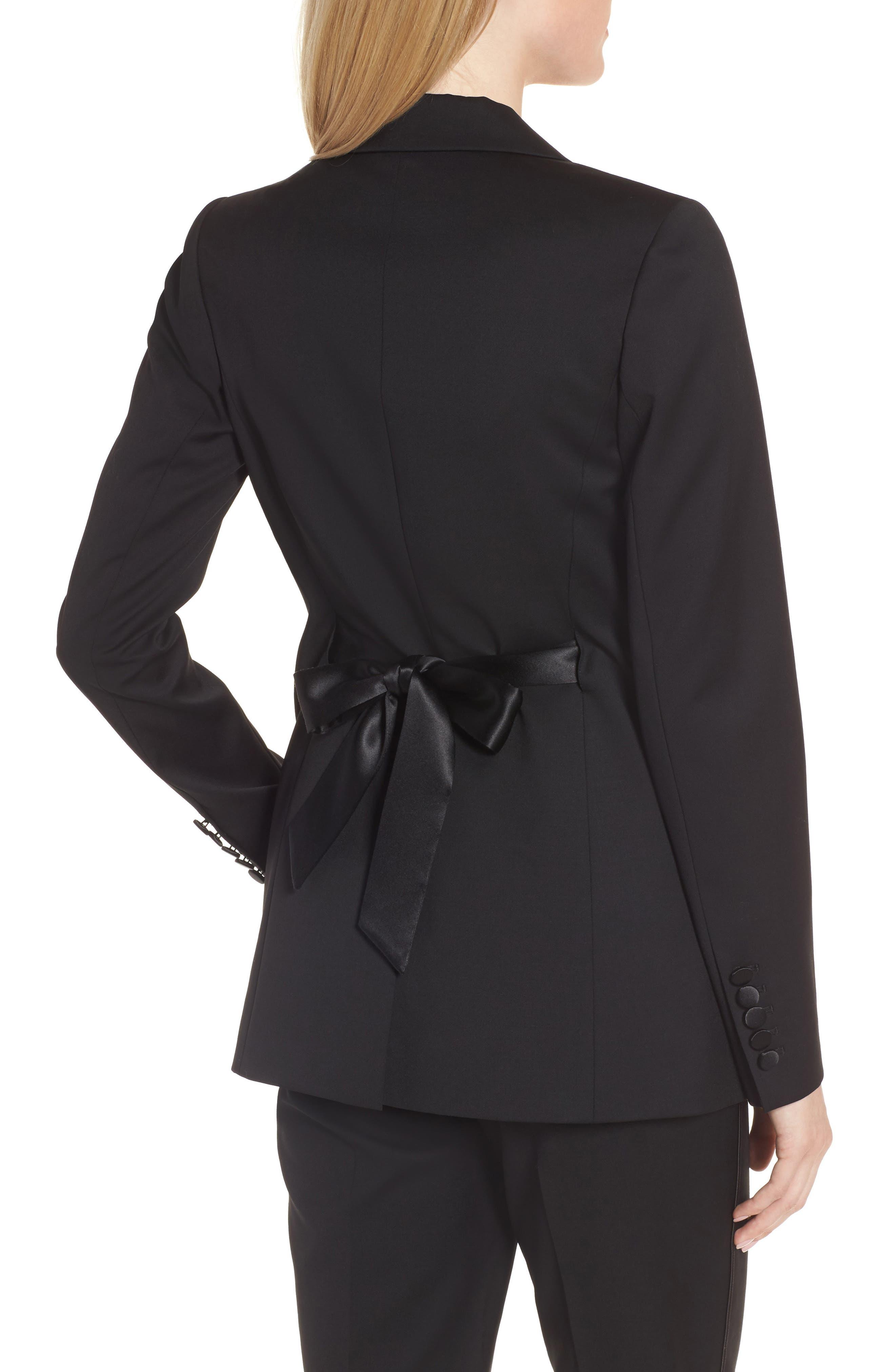 Tuxedo Detail Wool Suit Jacket,                             Alternate thumbnail 3, color,                             Black