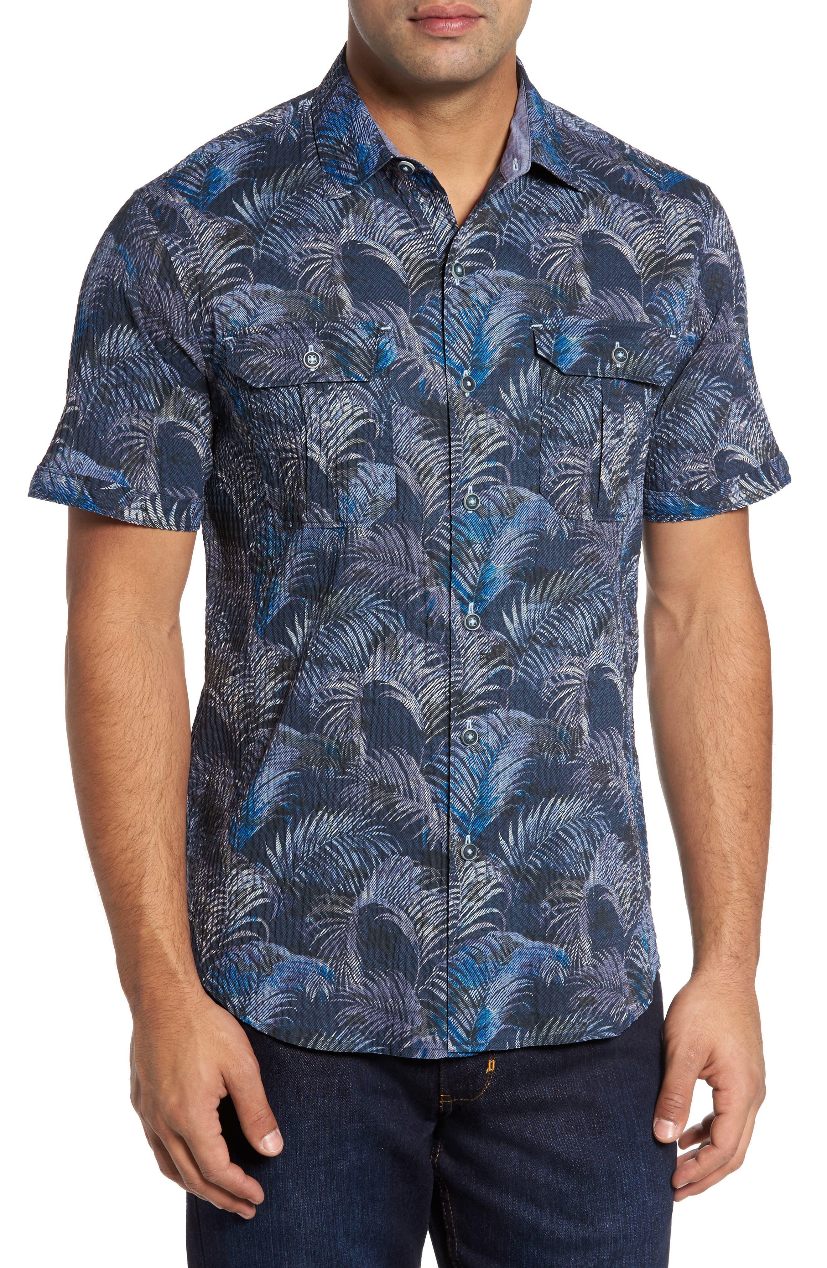 Fez Fronds Regular Fit Sport Shirt Shirt,                         Main,                         color, Maritime