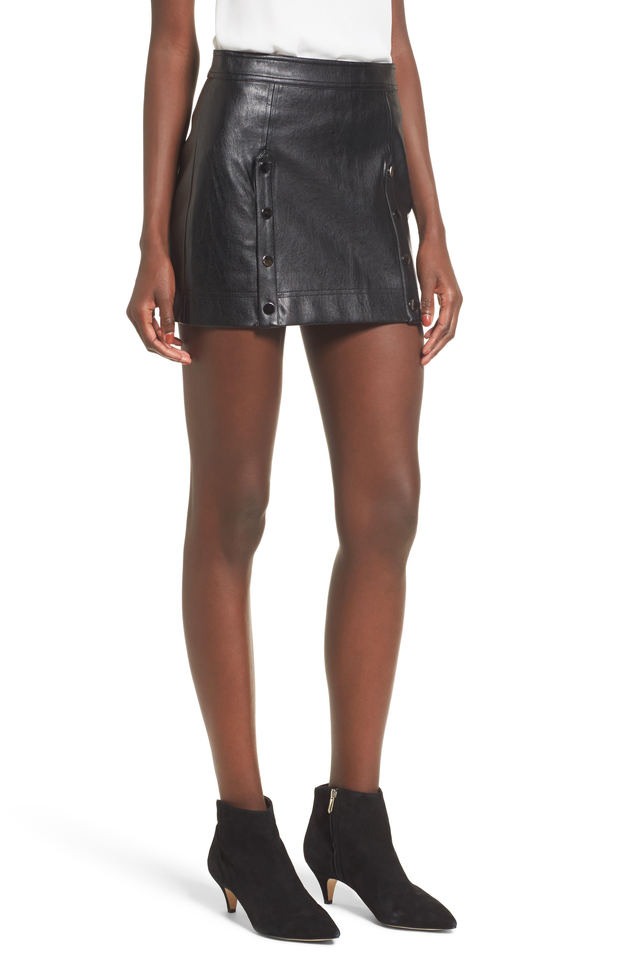 devlin Roseta Faux Leather Miniskirt