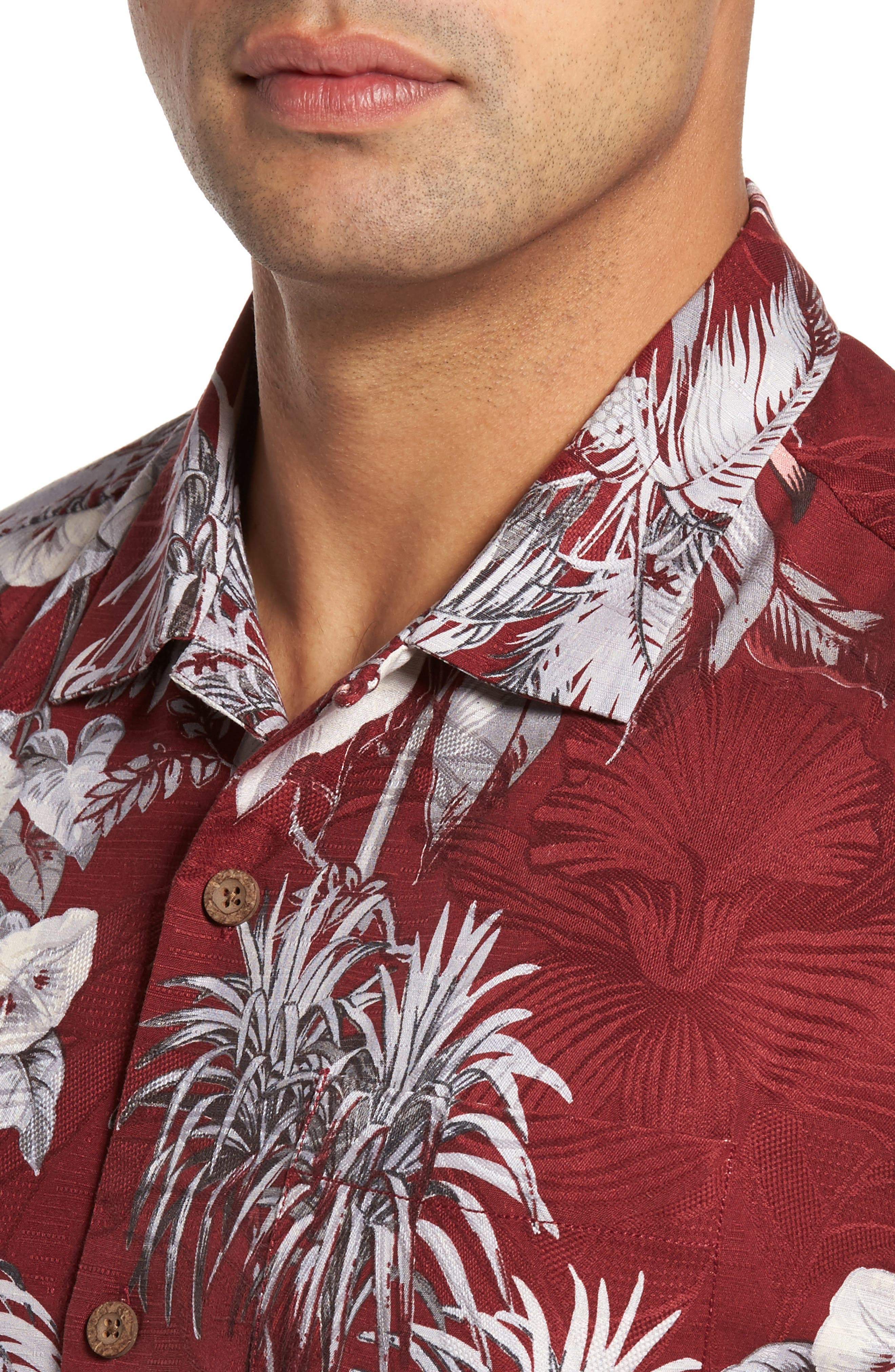 Boca da Palm Silk Camp Shirt,                             Alternate thumbnail 4, color,                             Ruby Wine