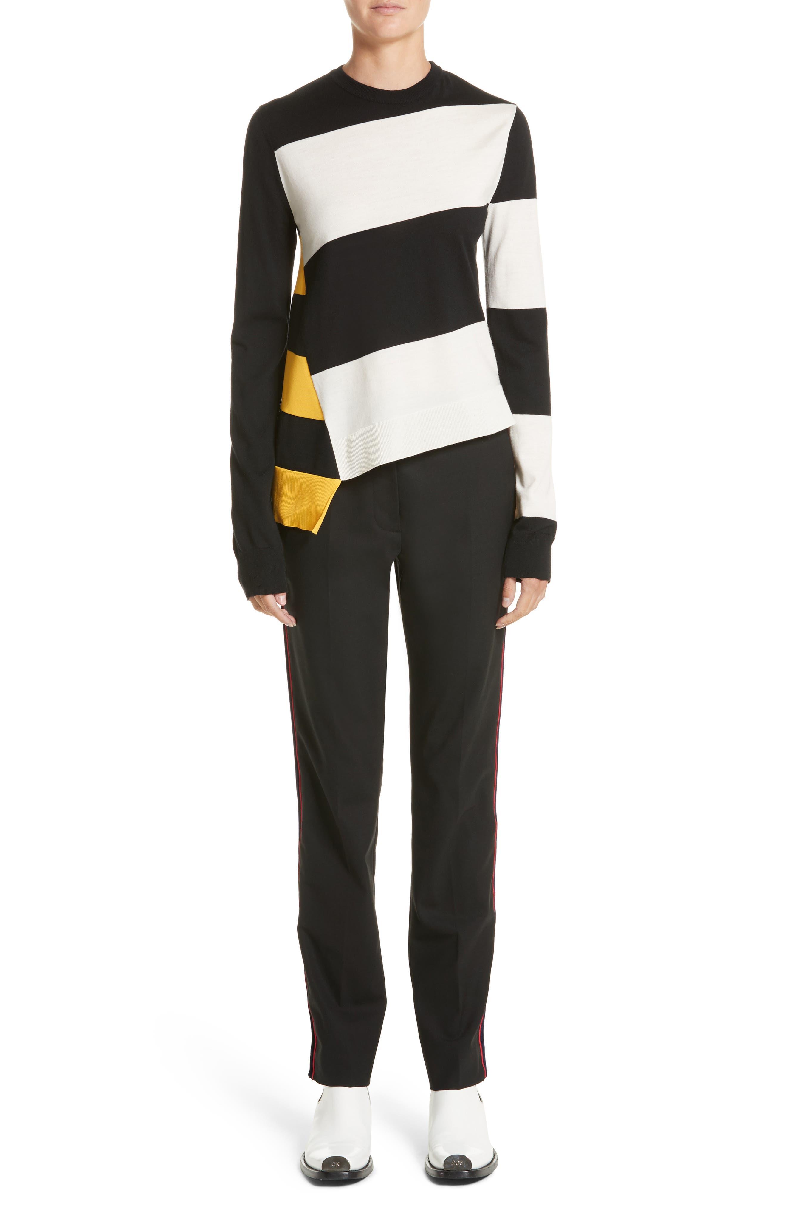 Bicolor Stripe Merino Wool Blend Sweater,                             Alternate thumbnail 6, color,                             Black/ Off White/ Yellow