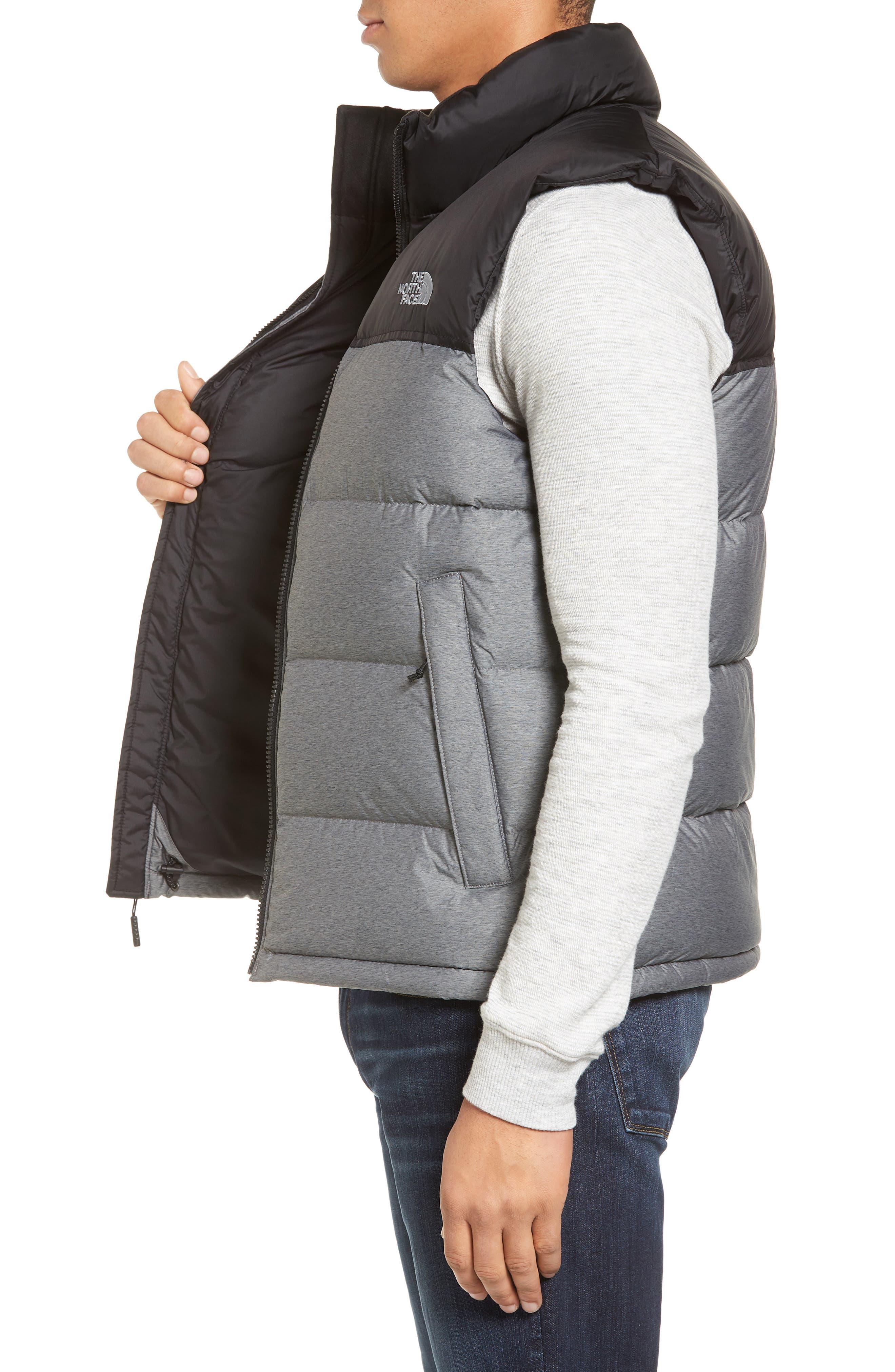Nuptse Water Repellent Down Vest,                             Alternate thumbnail 3, color,                             Medium Grey Heather/ Black