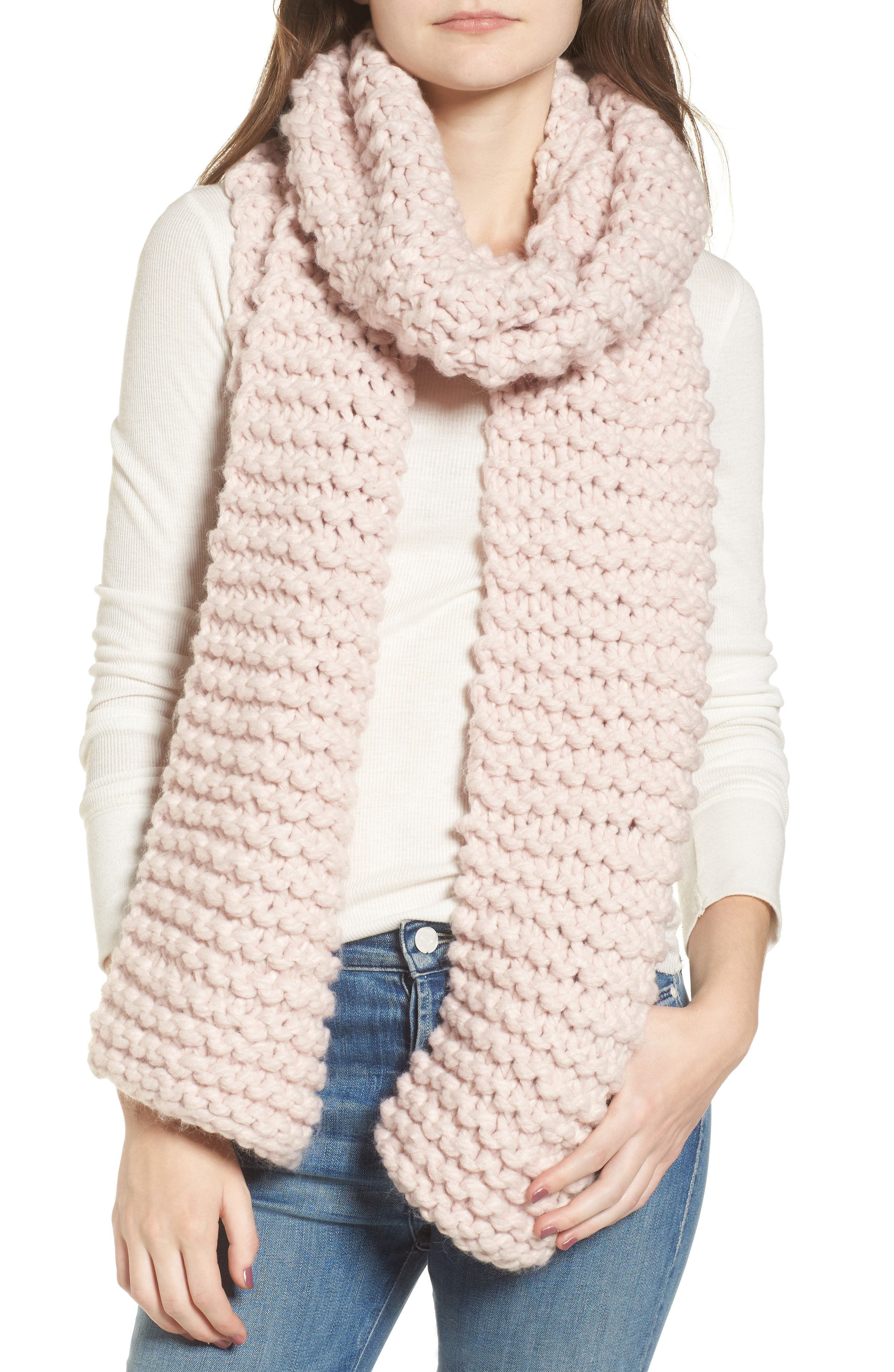 Chunky Knit Oversize Scarf,                             Main thumbnail 1, color,                             Blush