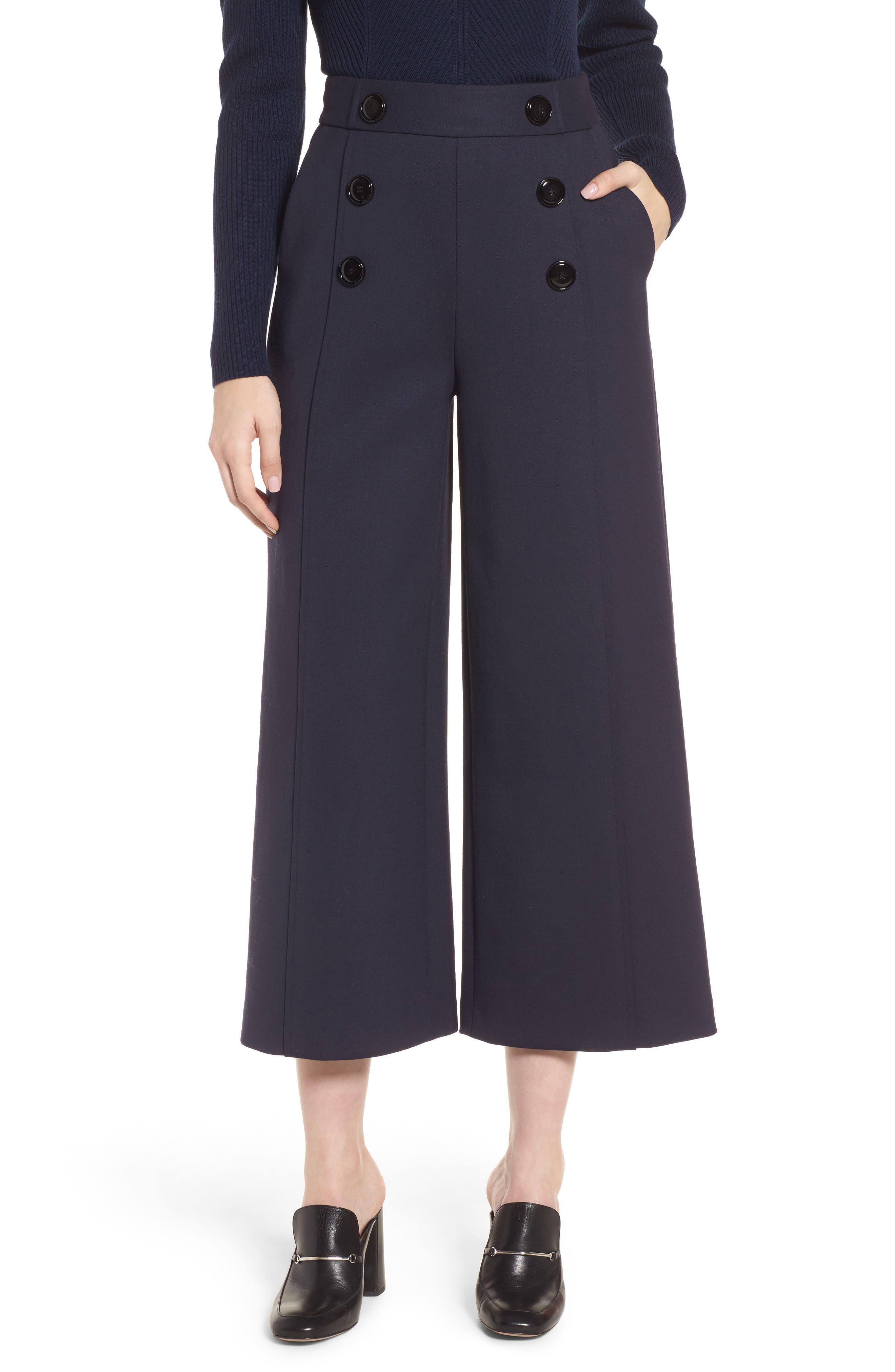 Button Detail Wide Leg Trouser,                         Main,                         color, Navy Night
