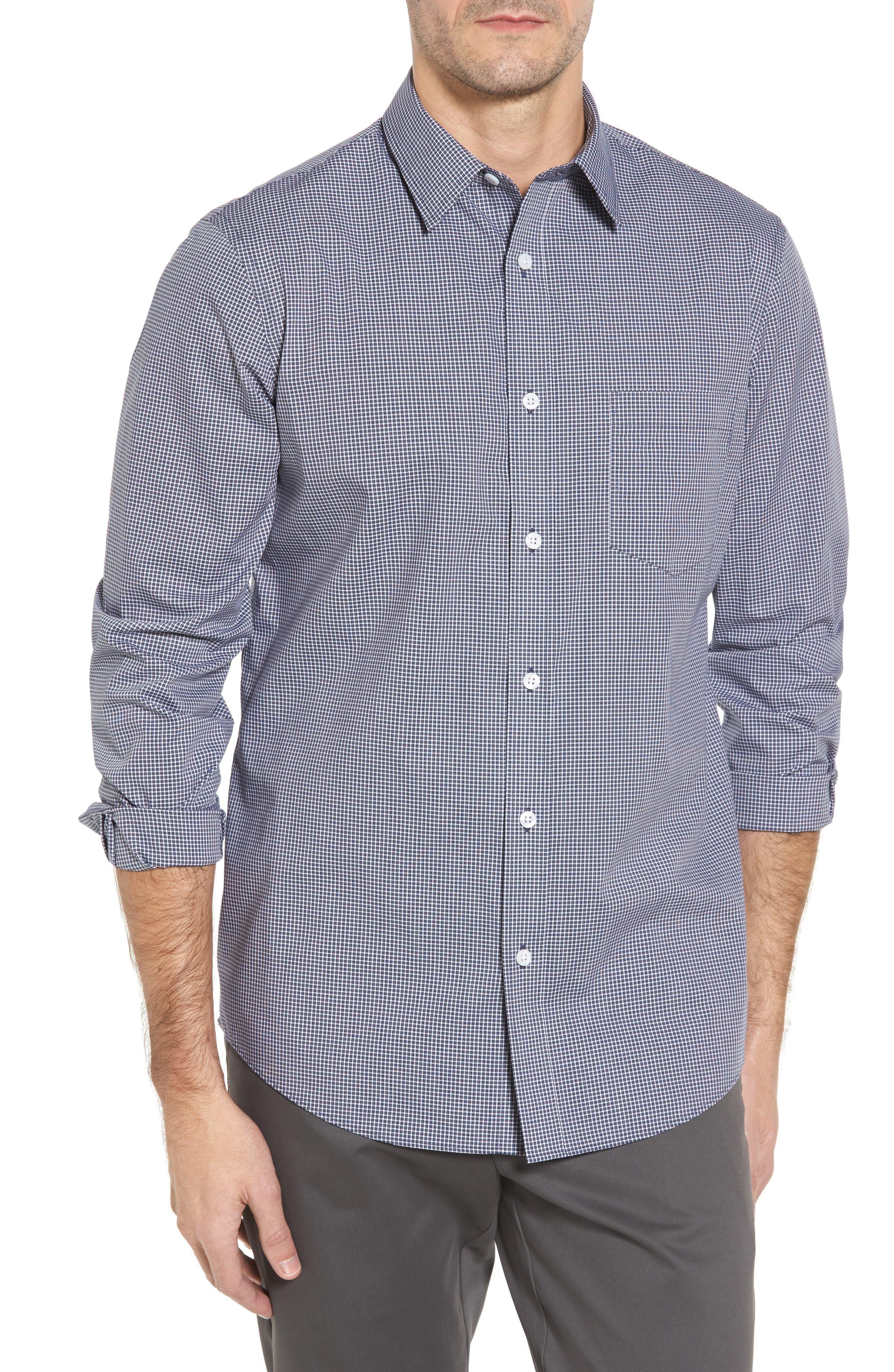 Alternate Image 1 Selected - Nordstrom Men's Shop Non-Iron Microcheck Sport Shirt